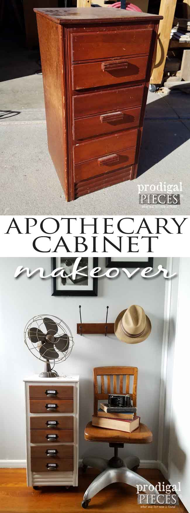 Ugly outdated stand gets industrial apothecary cabinet makeover. Get the DIY steps by Prodigal Pieces here at prodigalpieces.com