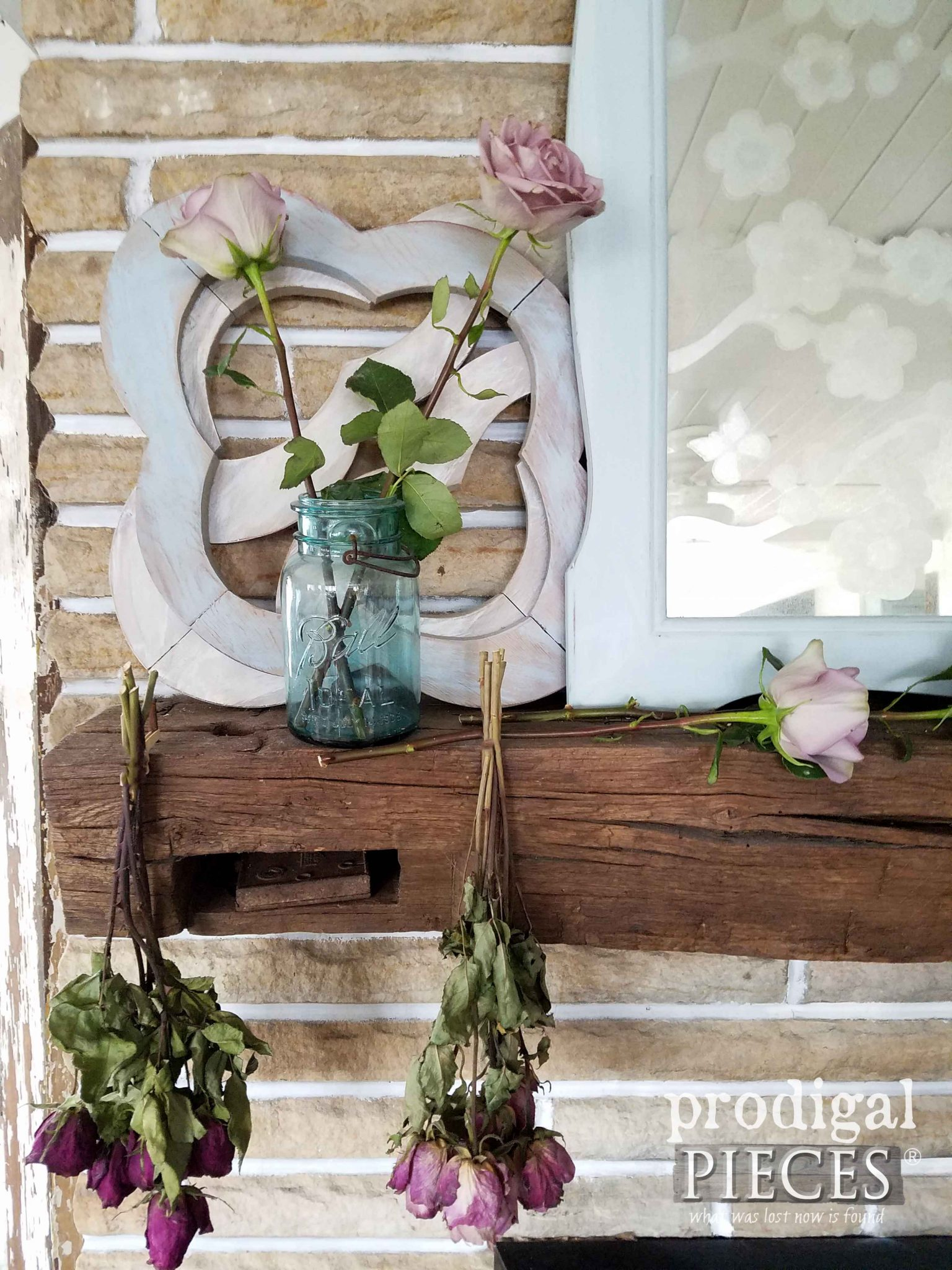 Blue Ball Jar on Rustic Farmhouse Mantel for Summer by Prodigal Pieces | prodigalpieces.com