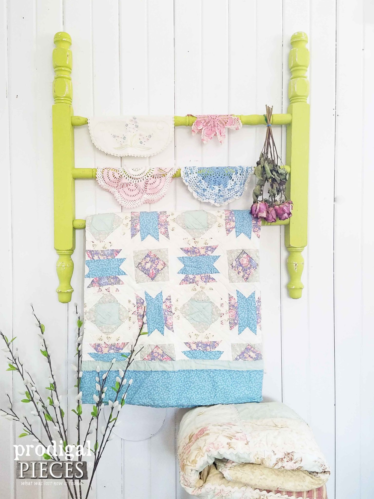 Rustic Cottage Chic Quilt Rack from Repurposed Parts by Prodigal Pieces | prodigalpieces.com