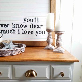 Gorgeous bin pulls on gray vintage dresser. By Prodigal Pieces | prodigalpieces.com