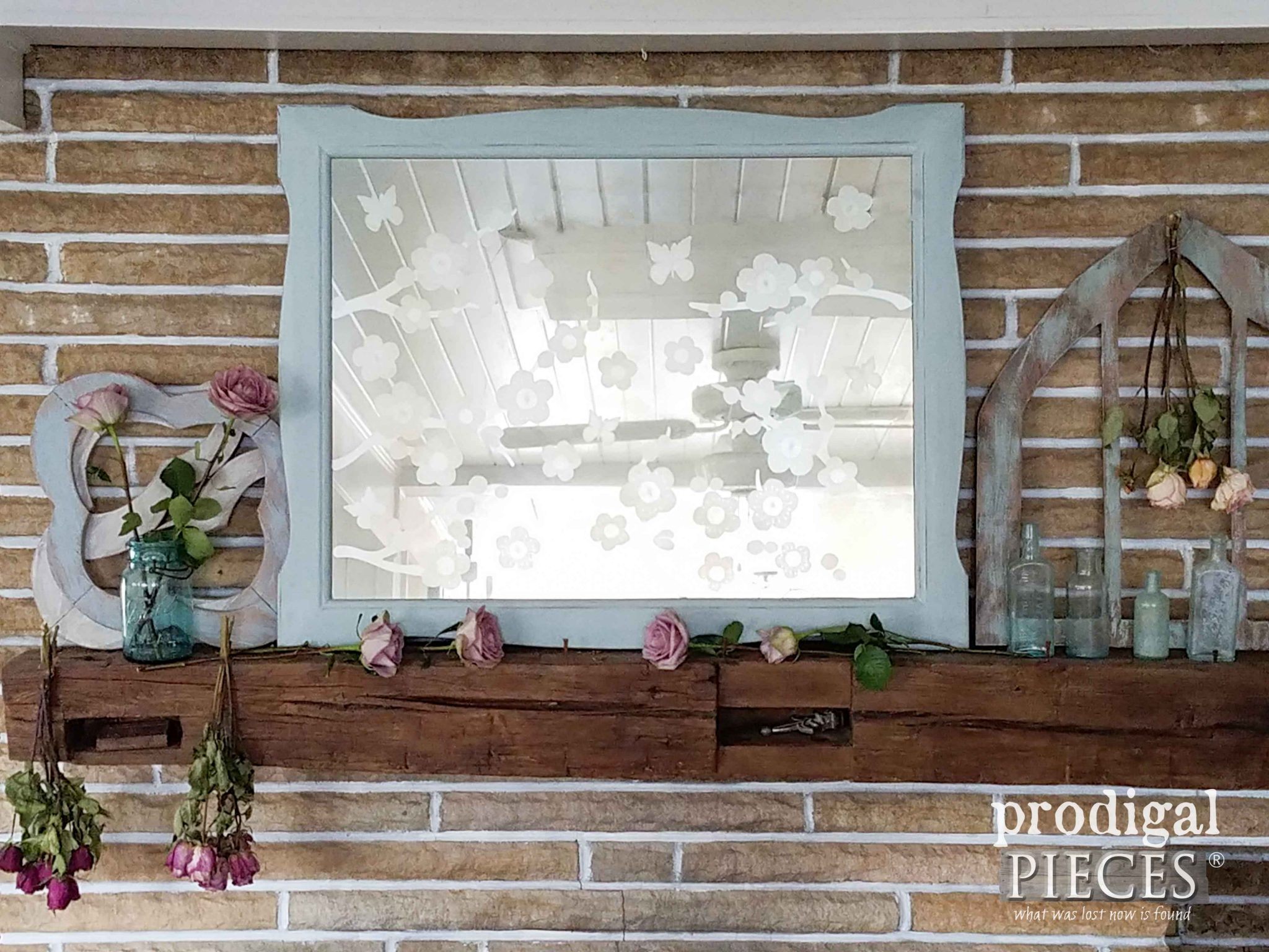 Old Dresser Mirror Gets Facelift with Etching. DIY details by Prodigal Pieces | prodigalpieces.com