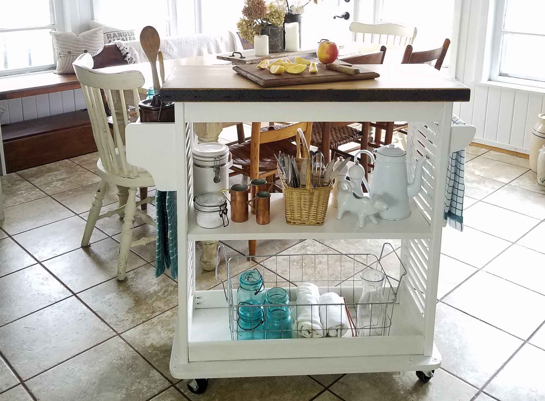 Featured Repurposed Kitchen Island Cart by Prodigal Pieces | prodigalpieces.com