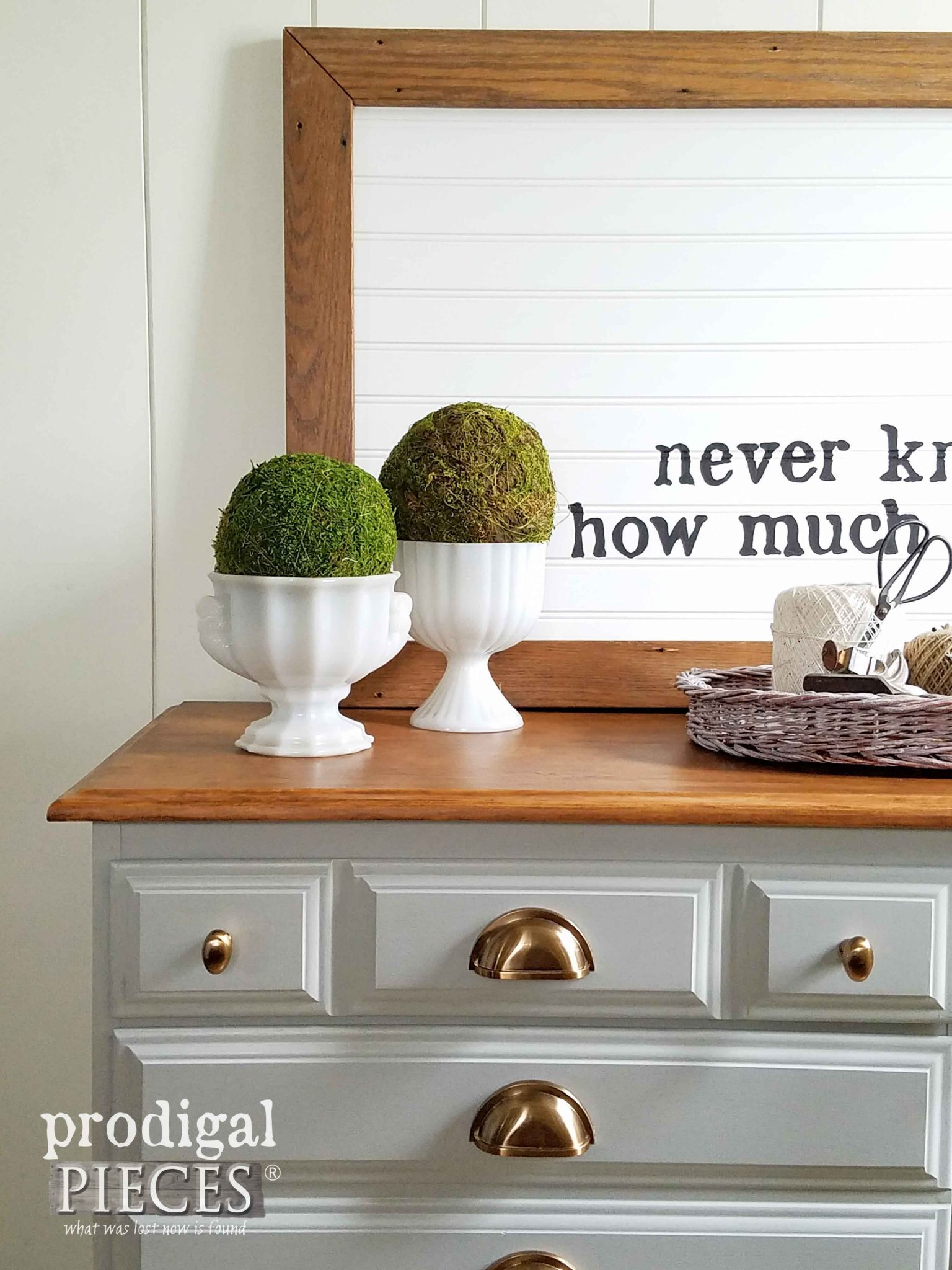 Modern Farmhouse Vignette on Vintage Dresser Makeover by Prodigal Pieces | prodigalpieces.com
