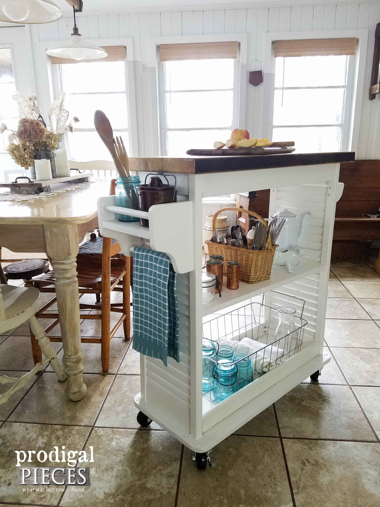 Kitchen Island Cart with Accessory Holders ~ Upcycled Fun by Prodigal Pieces | prodigalpieces.com