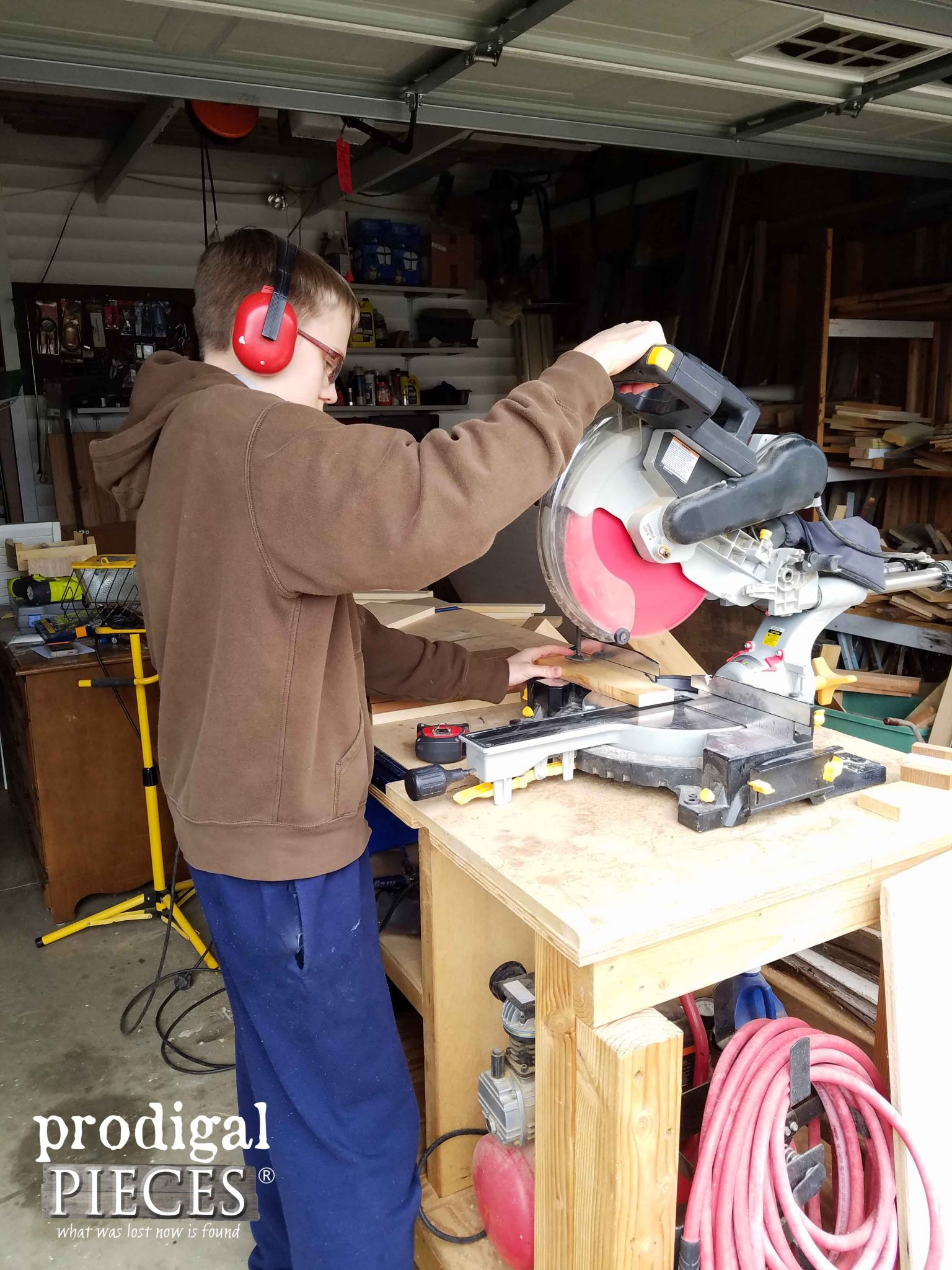 Teen using Miter Saw to Make Repurposed Crate | Prodigal Pieces | prodigalpieces.com