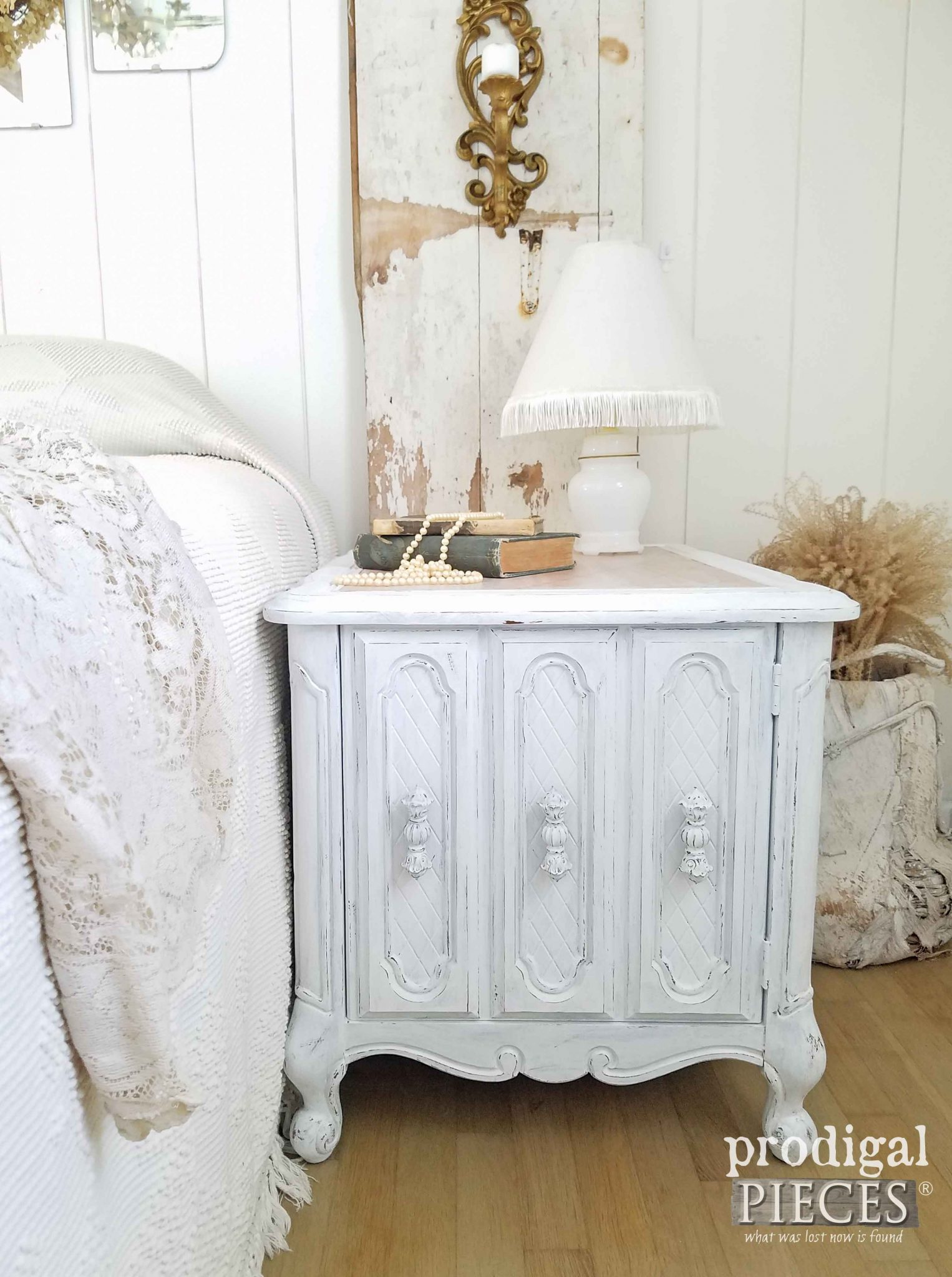 Vintage Nightstand Side Table with Queen Anne Legs and Storage available at Prodigal Pieces | prodigalpieces.com