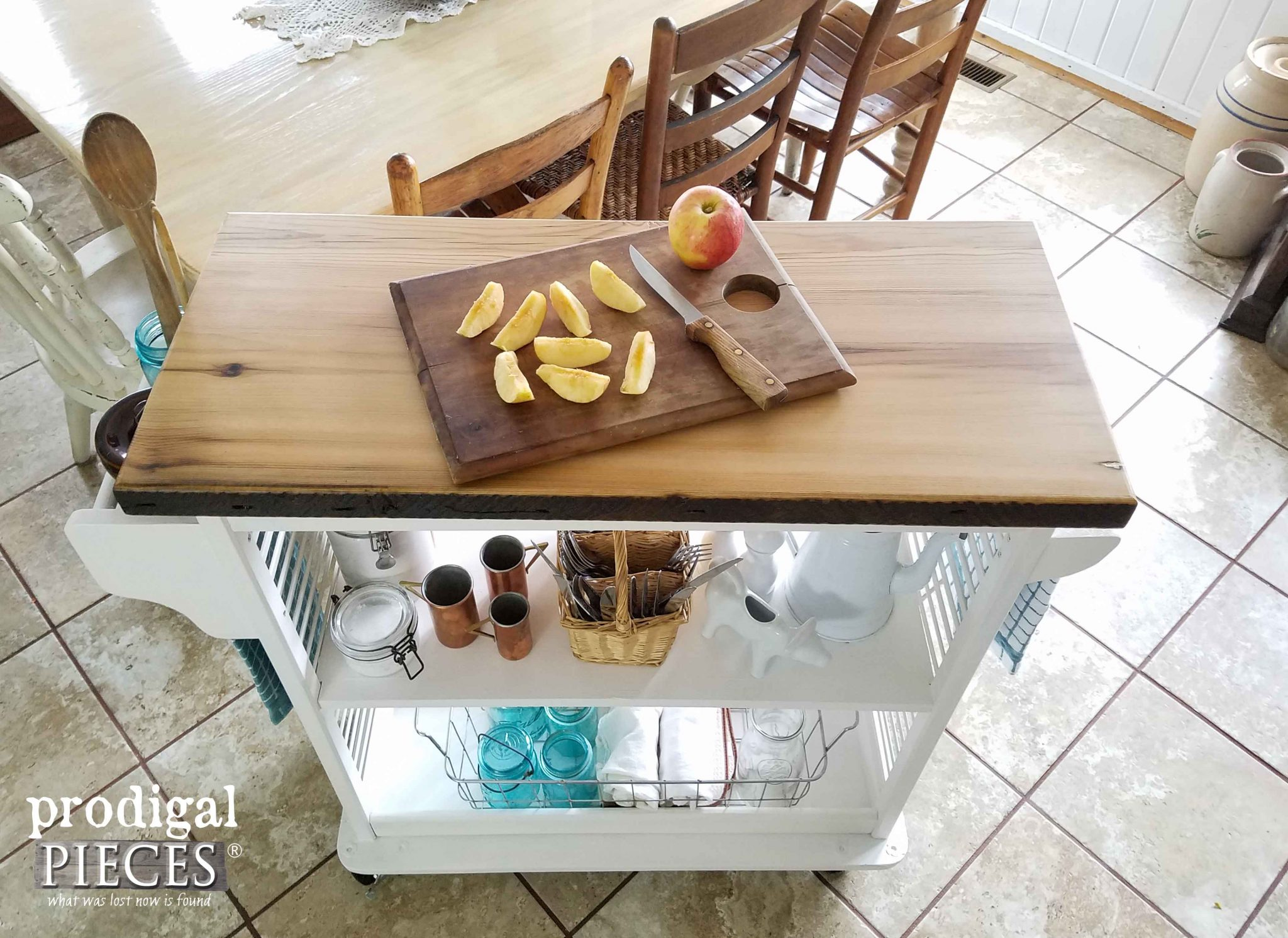 Reclaimed Wood Top on Kitchen Cart by Prodigal Pieces | prodigalpieces.com