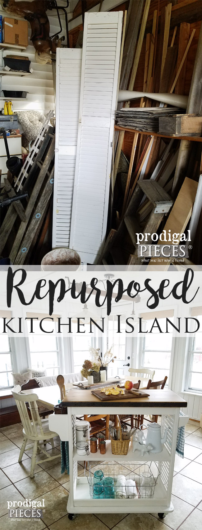 Check out this Repurposed Kitchen Island Cart all made from Repurposed Materials by Prodigal Pieces | prodigalpieces.com