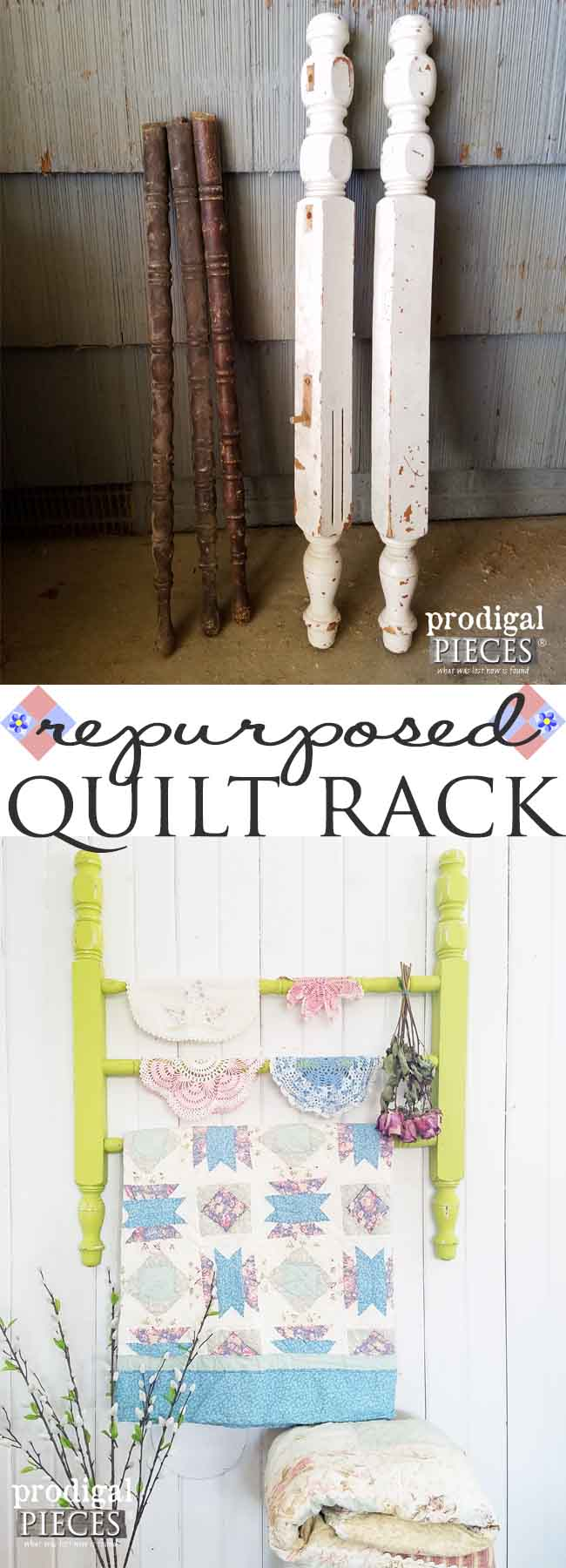 Build a DIY quilt rack using repurposed parts. Prodigal Pieces shows you how! Head here: prodigalpieces.com