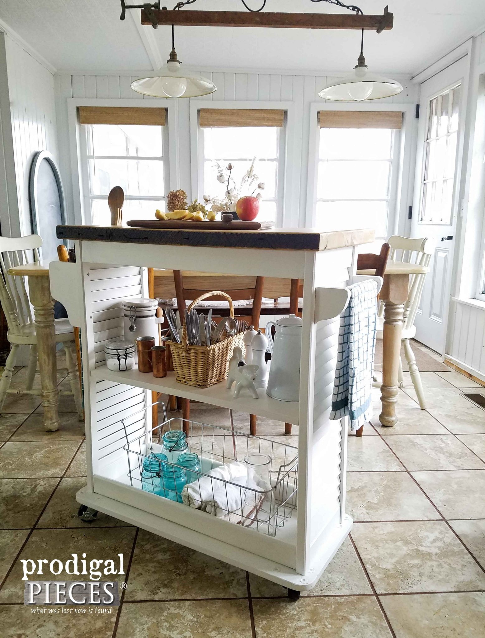 Towel Bars and Ample Storage Featured on this Upcycled Kitchen Island Cart by Prodigal Pieces | prodigalpieces.com