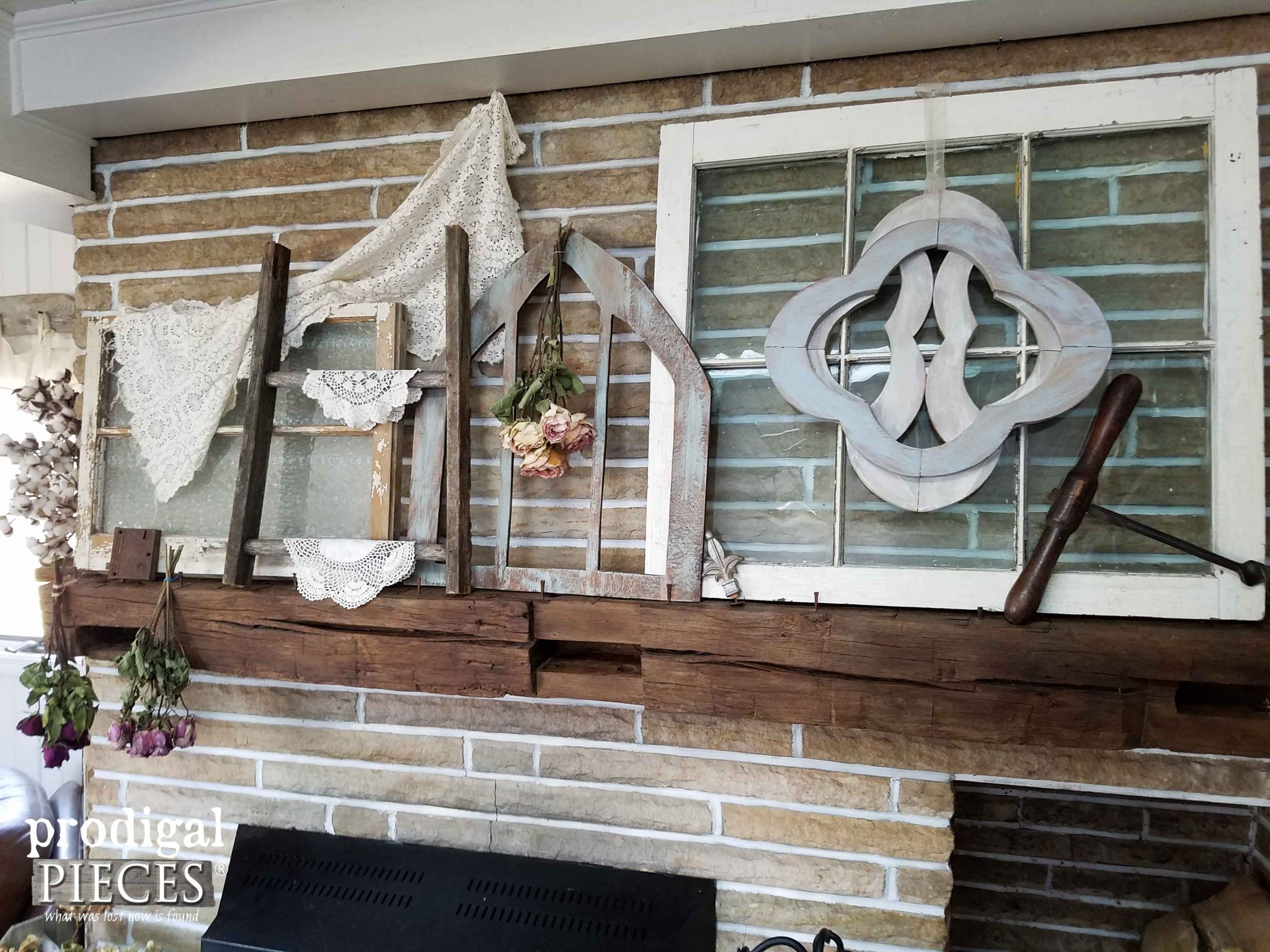 Rustic Chic Fireplace Mantel by Prodigal Pieces | prodigalpieces.com