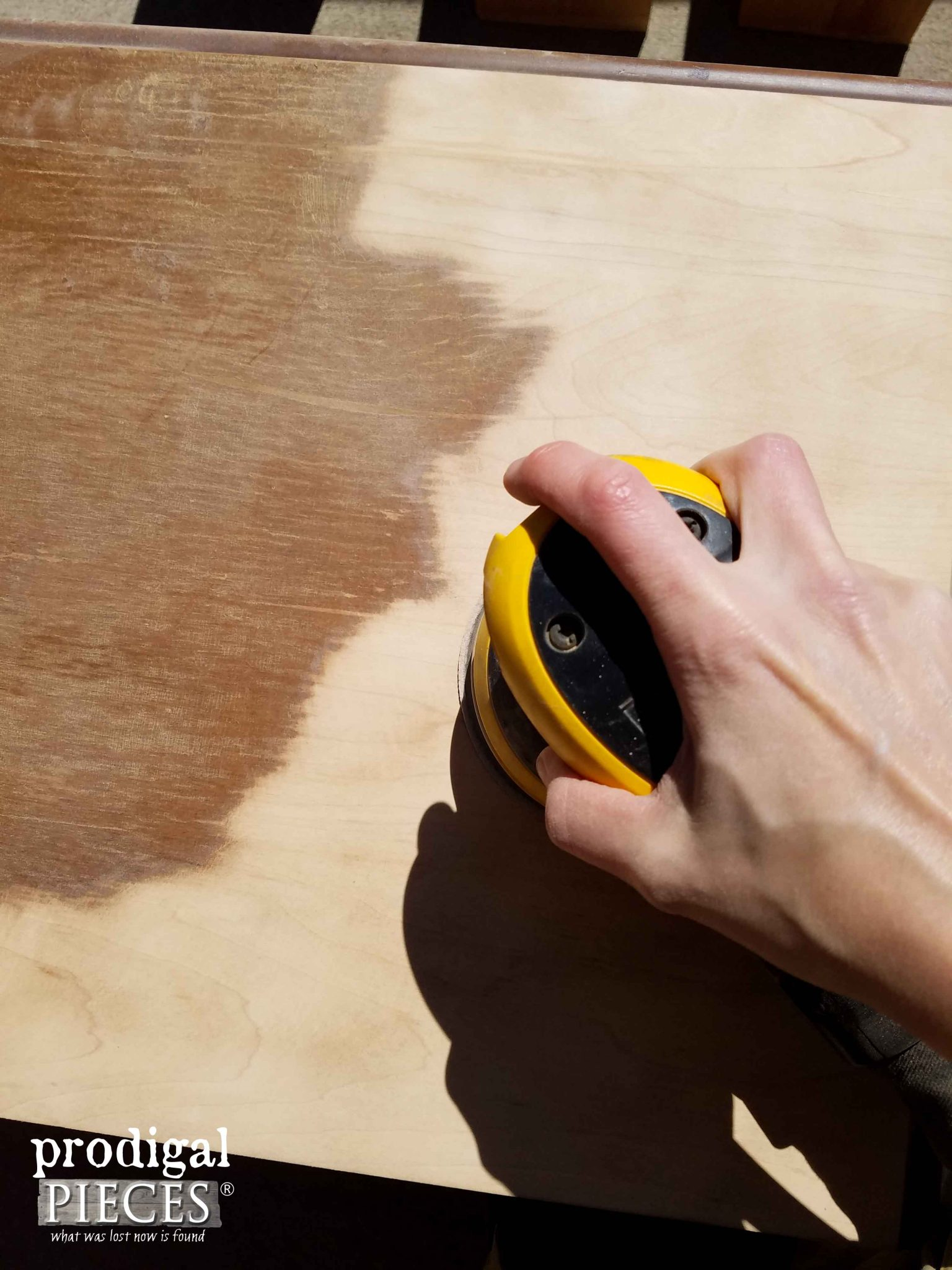 Using Orbital Sander to Create a Rustic Sawn Effect to Dresser Top | Prodigal Pieces | prodigalpieces.com