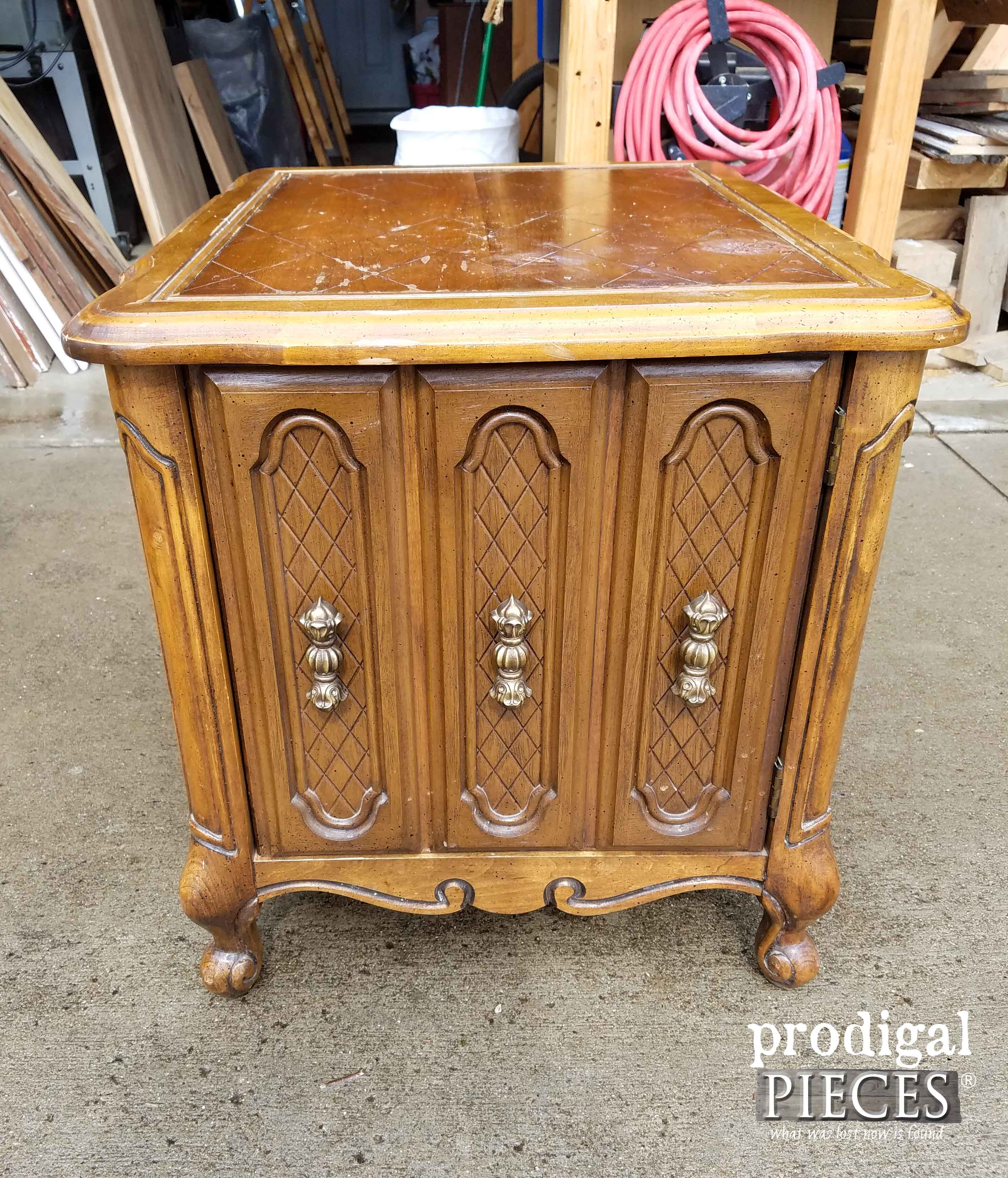 Vintage Nightstand Before Makeover by Prodigal Pieces | prodigalpieces.com