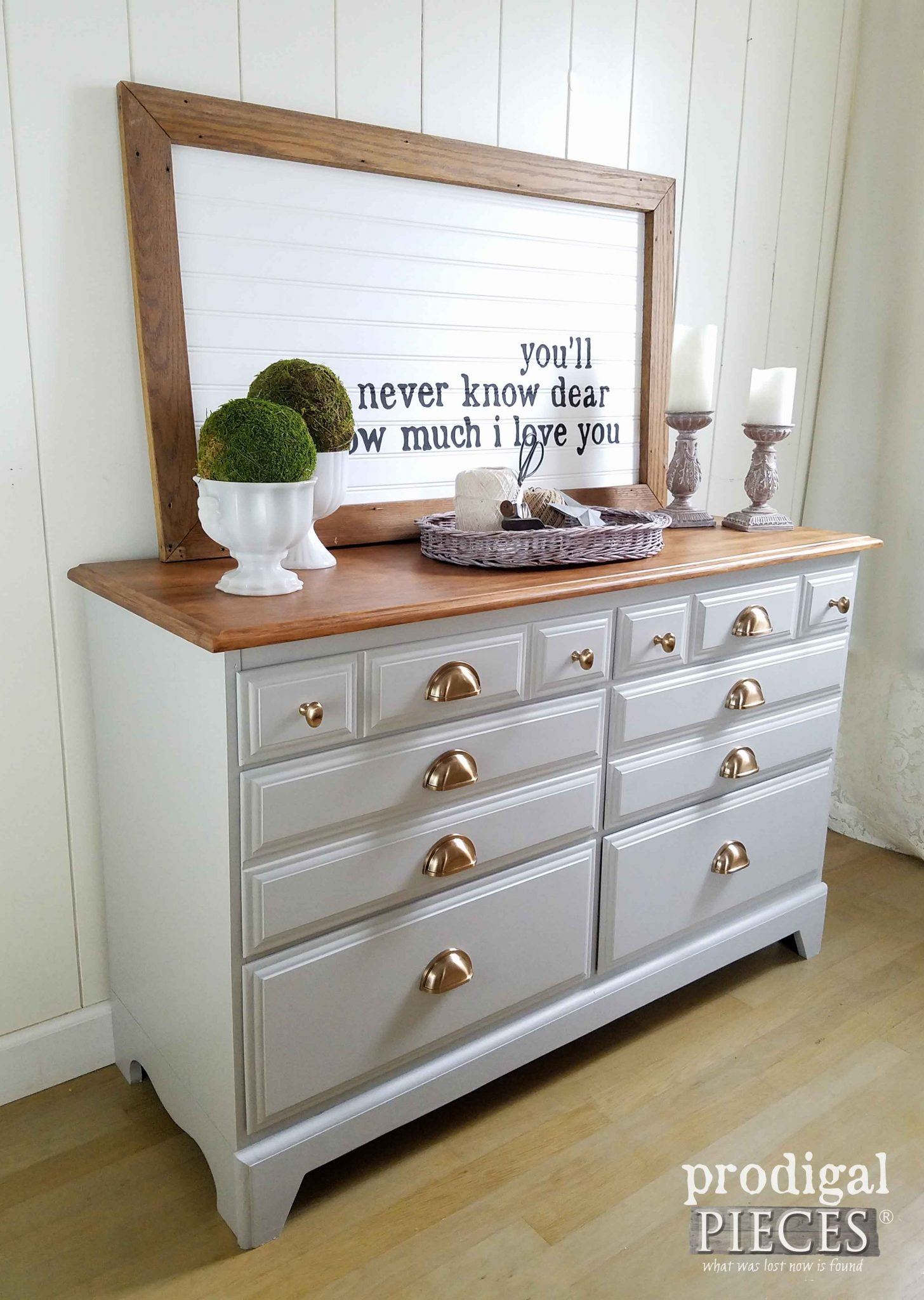 An outdated dresser gets modern farmhouse makeover by Prodigal Pieces | prodigalpieces.com