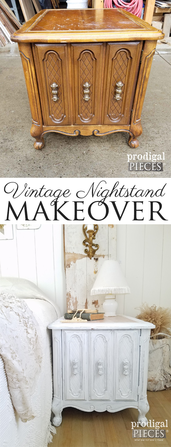 Teen girl gives this vintage nightstand a makeover giving it a cottage farmhouse feel. Find it at Prodigal Pieces | prodigalpieces.com