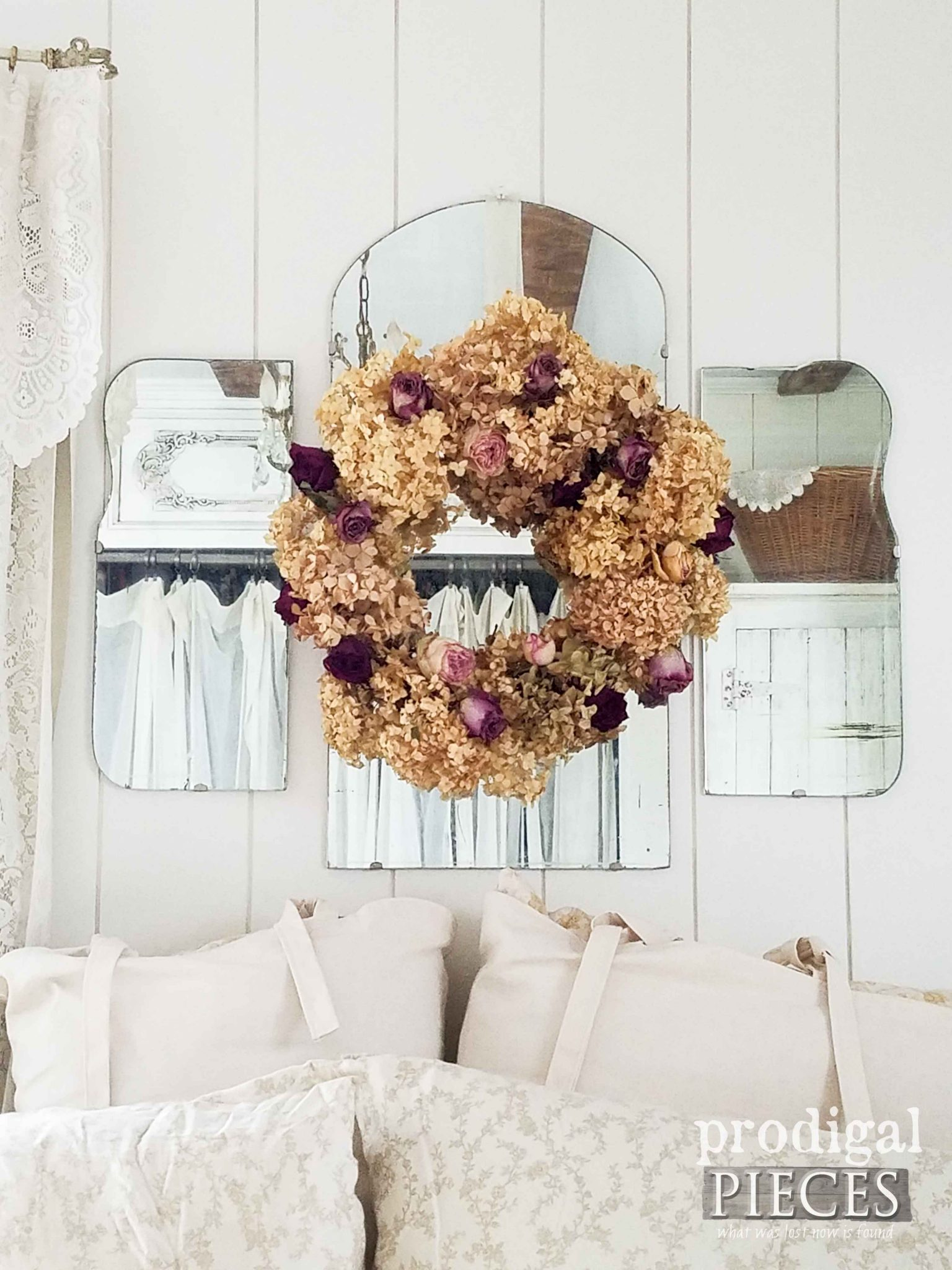Dried Hydrangea and Rose Wreath in Farmhouse Bedroom by Prodigal Pieces | prodigalpieces.com