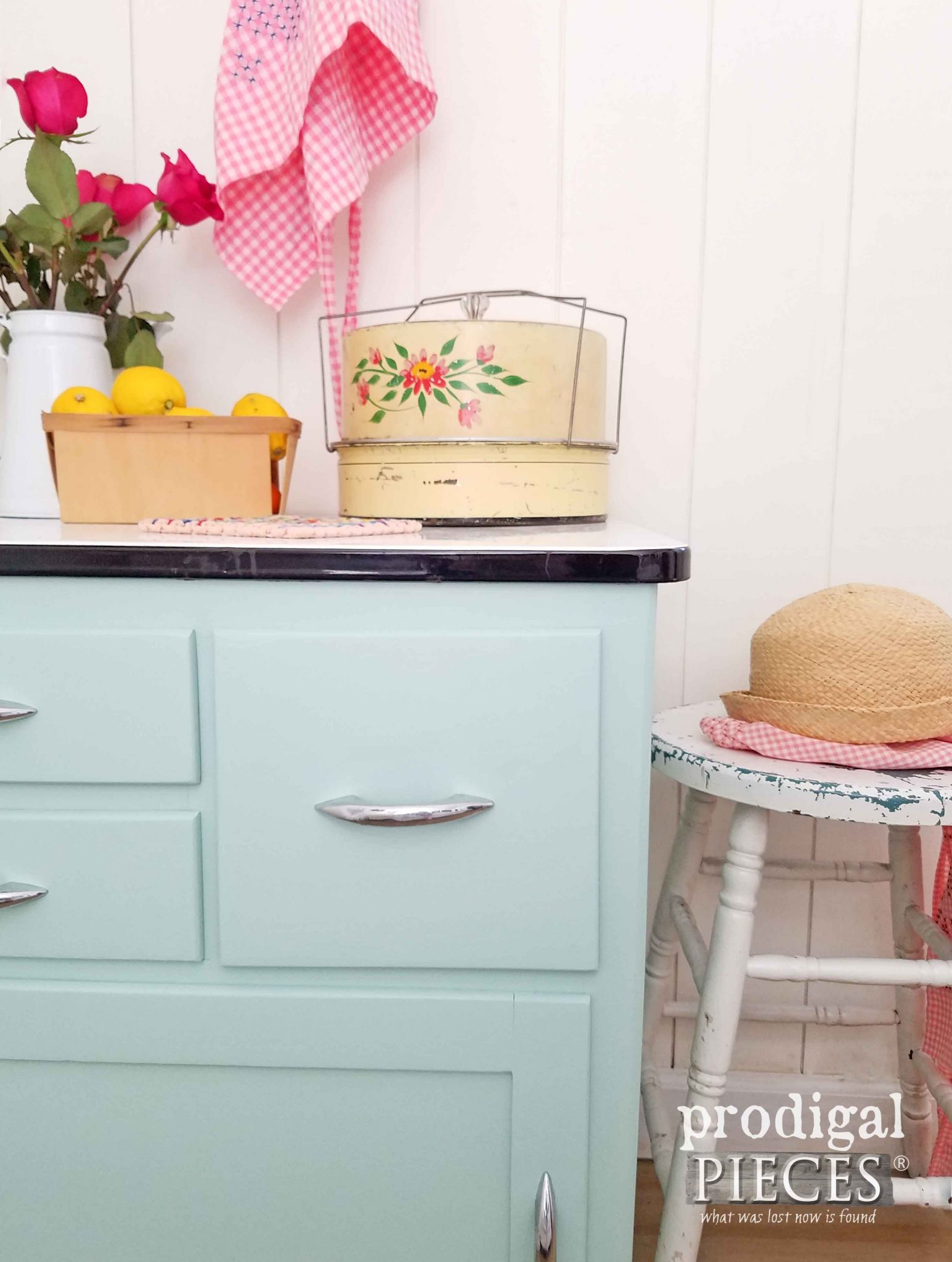Cottage Style Aqua Blue Enamel Cabinet Makeover by Prodigal Pieces | prodigalpieces.com