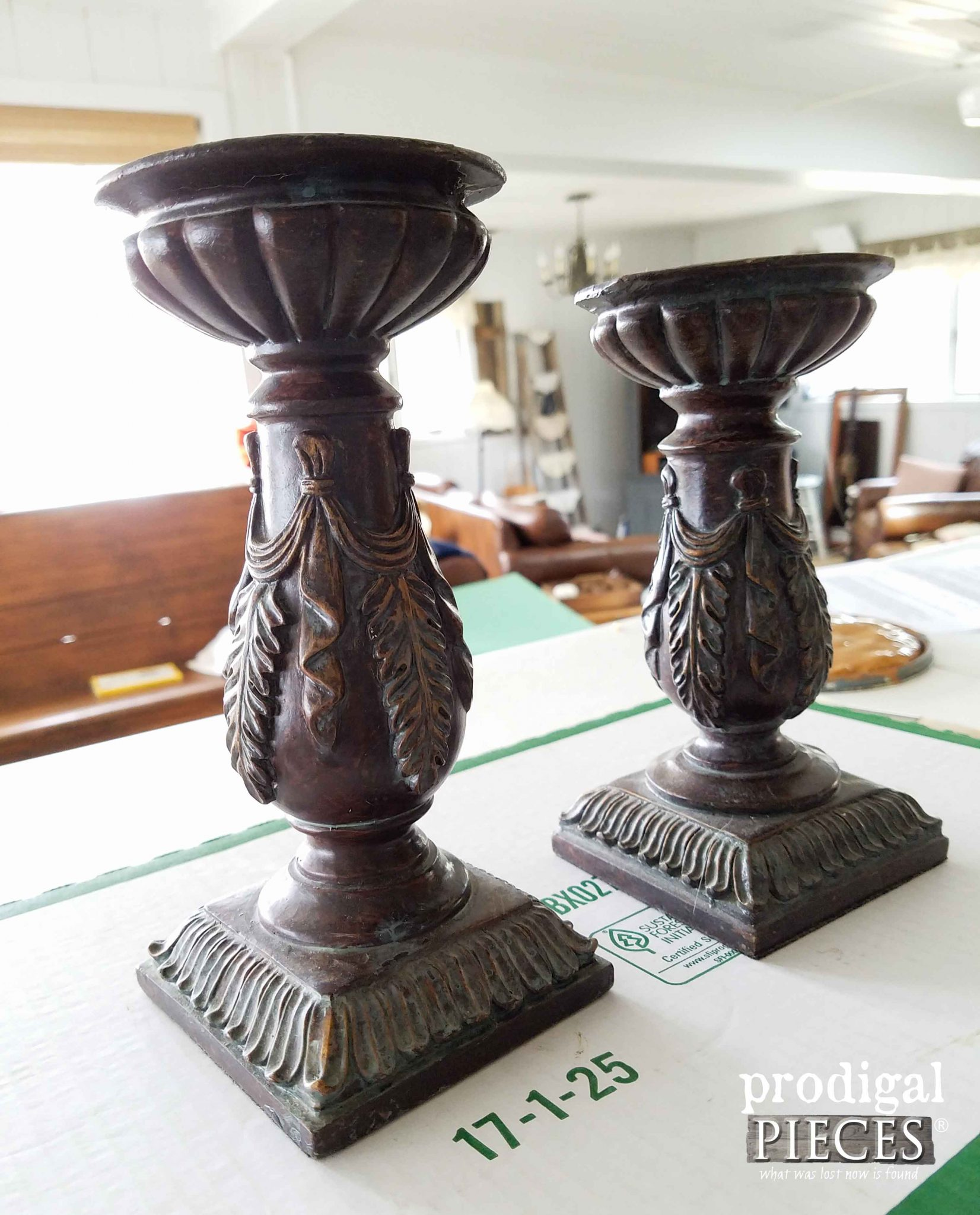 Thrifted Candlesticks Before Makeover | Prodigal Pieces | prodigalpieces.com