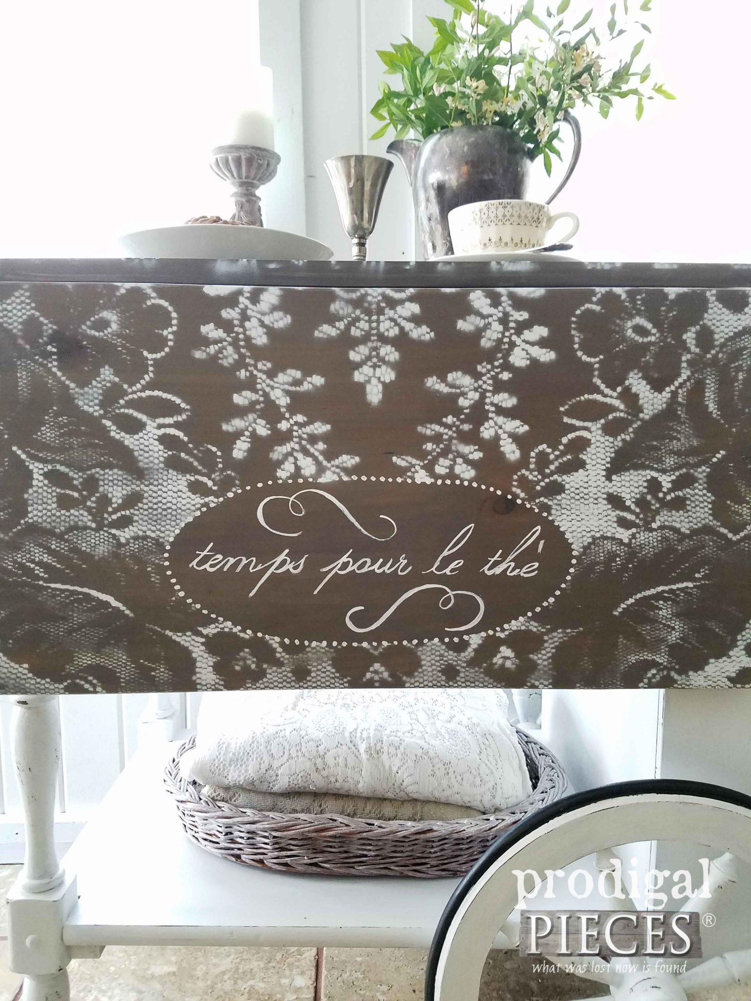 Hand-painted tea cart with French Script | Prodigal Pieces | prodigalpieces.com