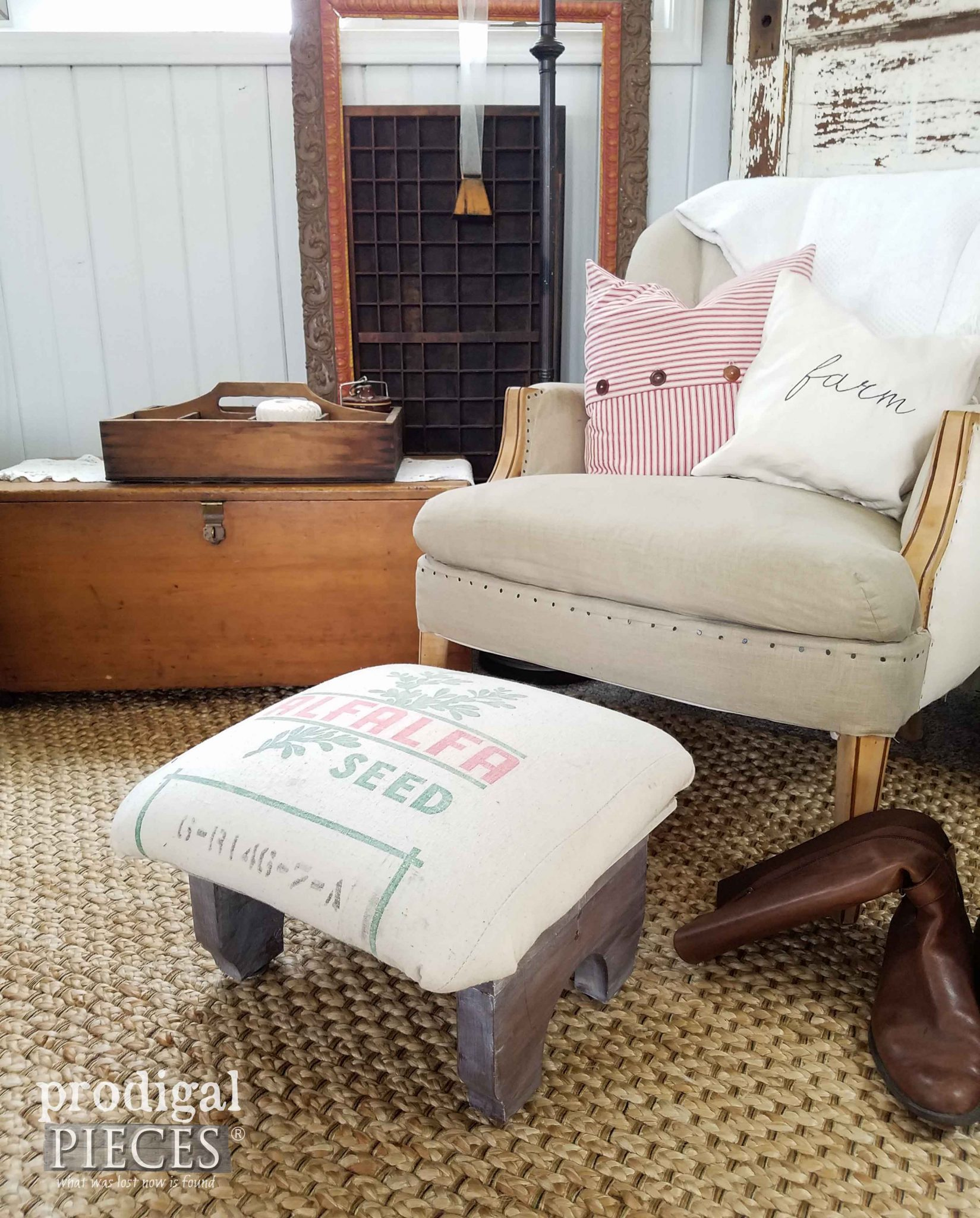Farmhouse Style Feed Sack Footstool by Prodigal Pieces | prodigalpieces.com
