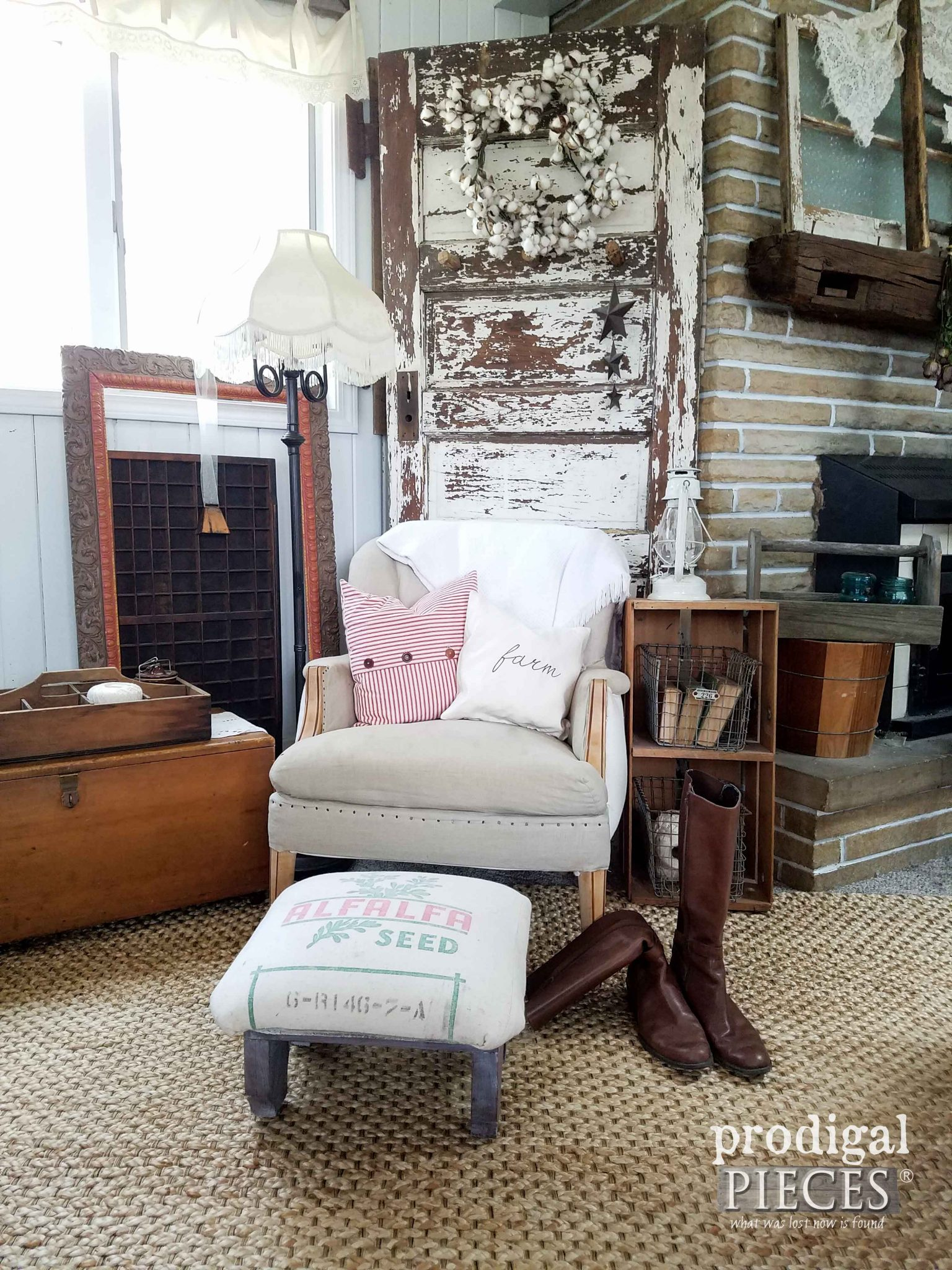 Farmhouse Decor with Feed Sack Footstool by Prodigal Pieces | prodigalpieces.com