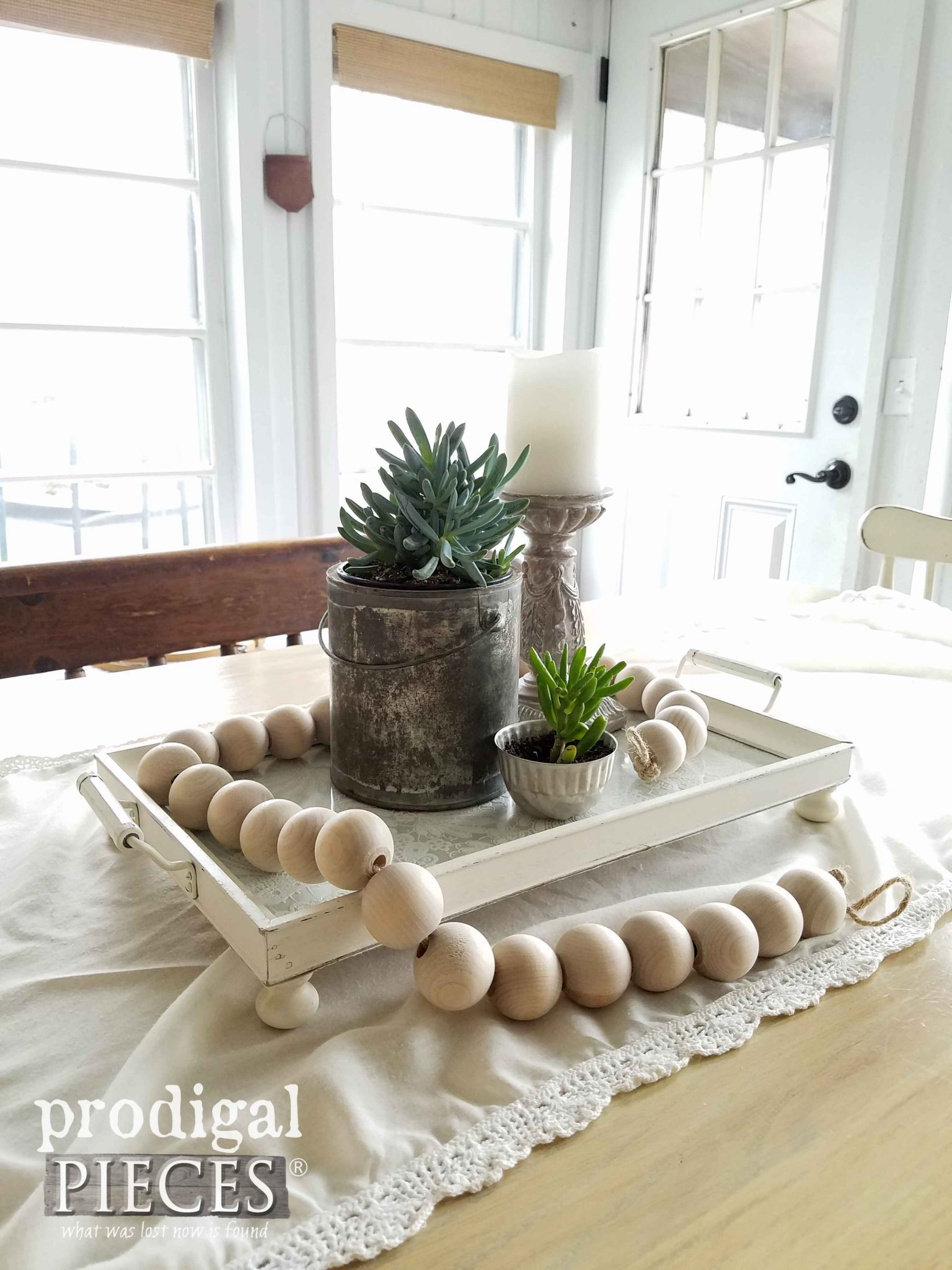 Farmhouse Tray Vignette for Table Centerpiece by Prodgial Pieces | prodigalpieces.com