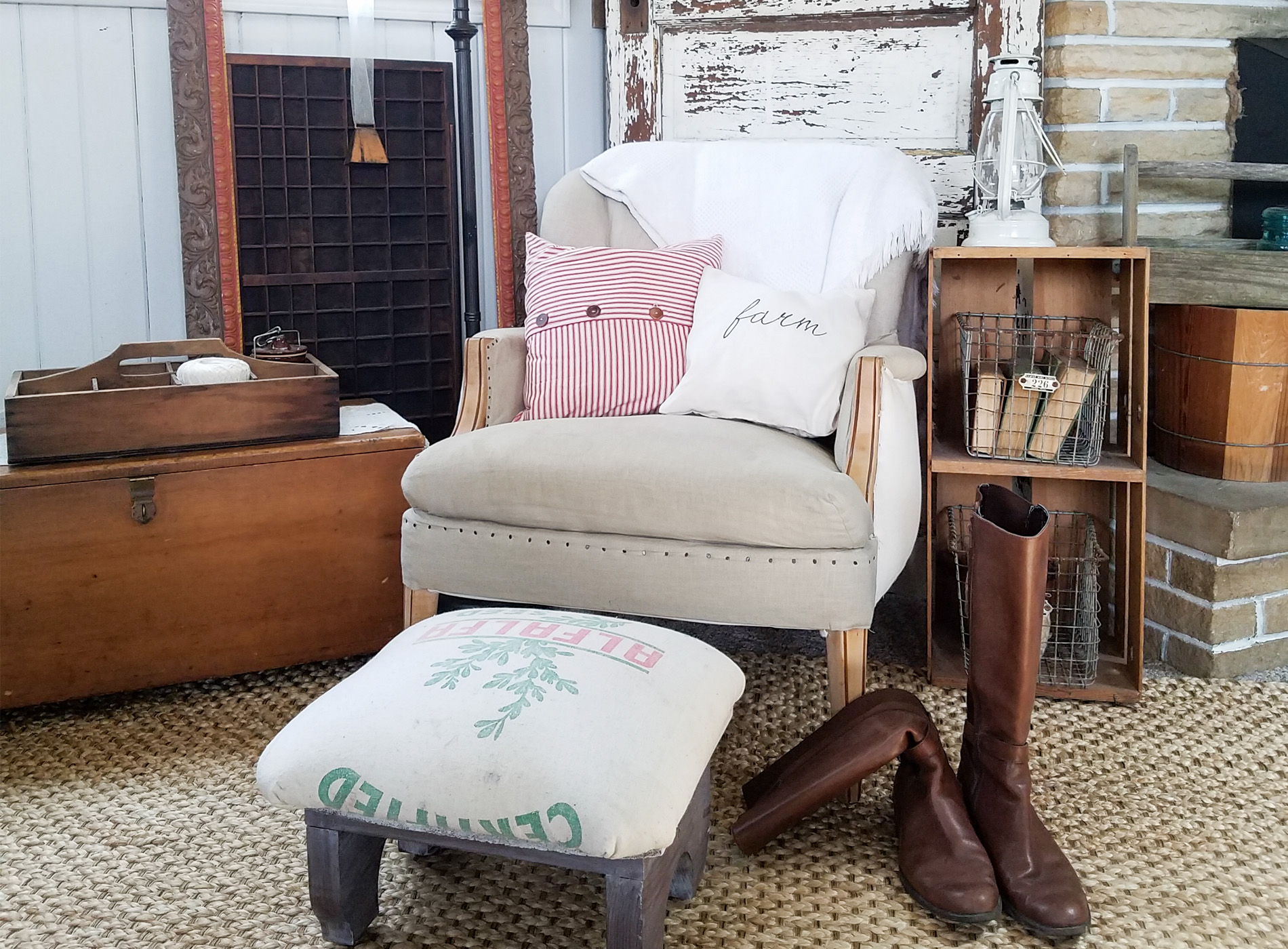Featured Farmhouse Feed Sack Footstool by Prodigal Pieces | prodigalpieces.com