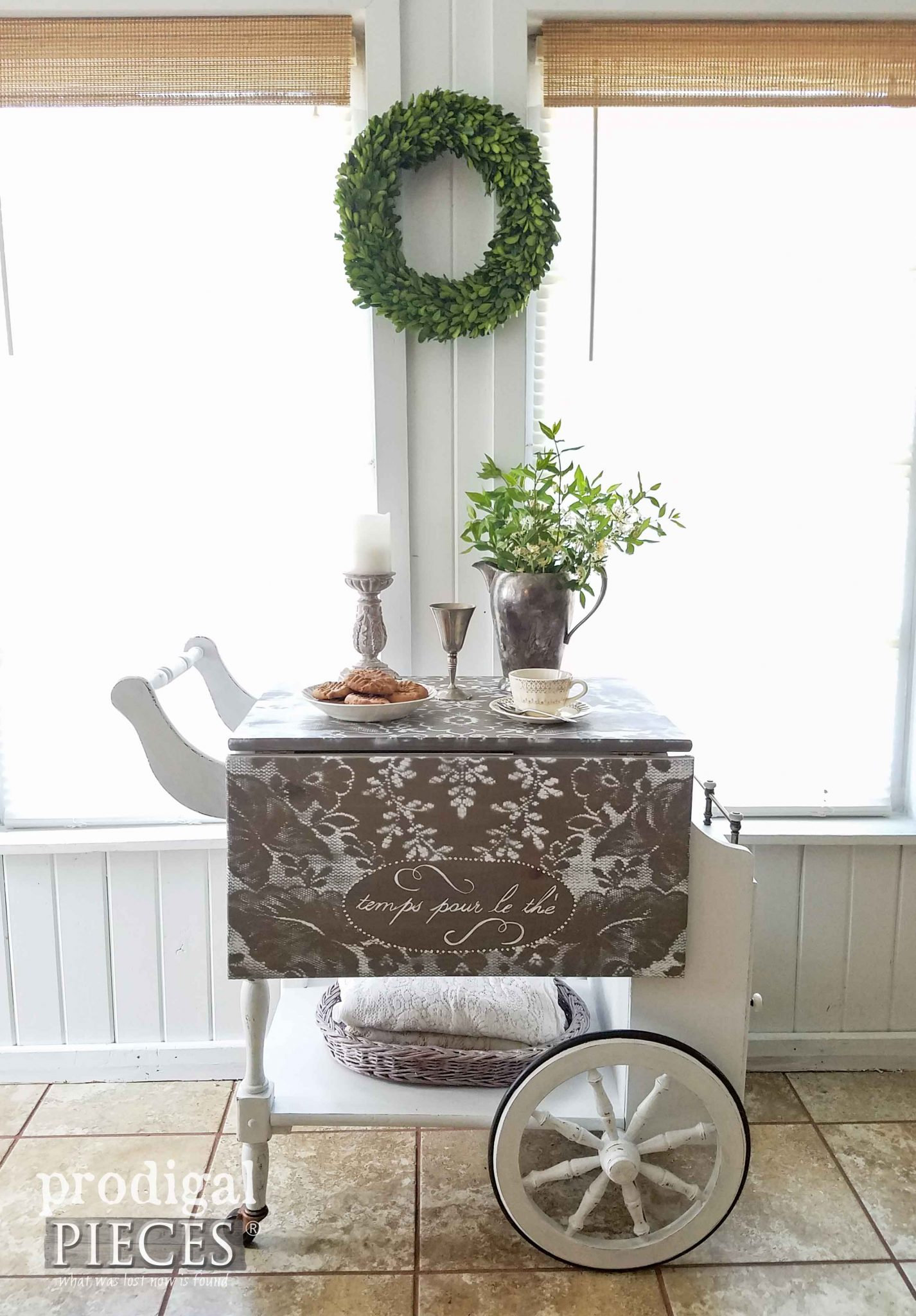 French Style Tea Cart Makeover by Prodigal Pieces | prodigalpieces.com