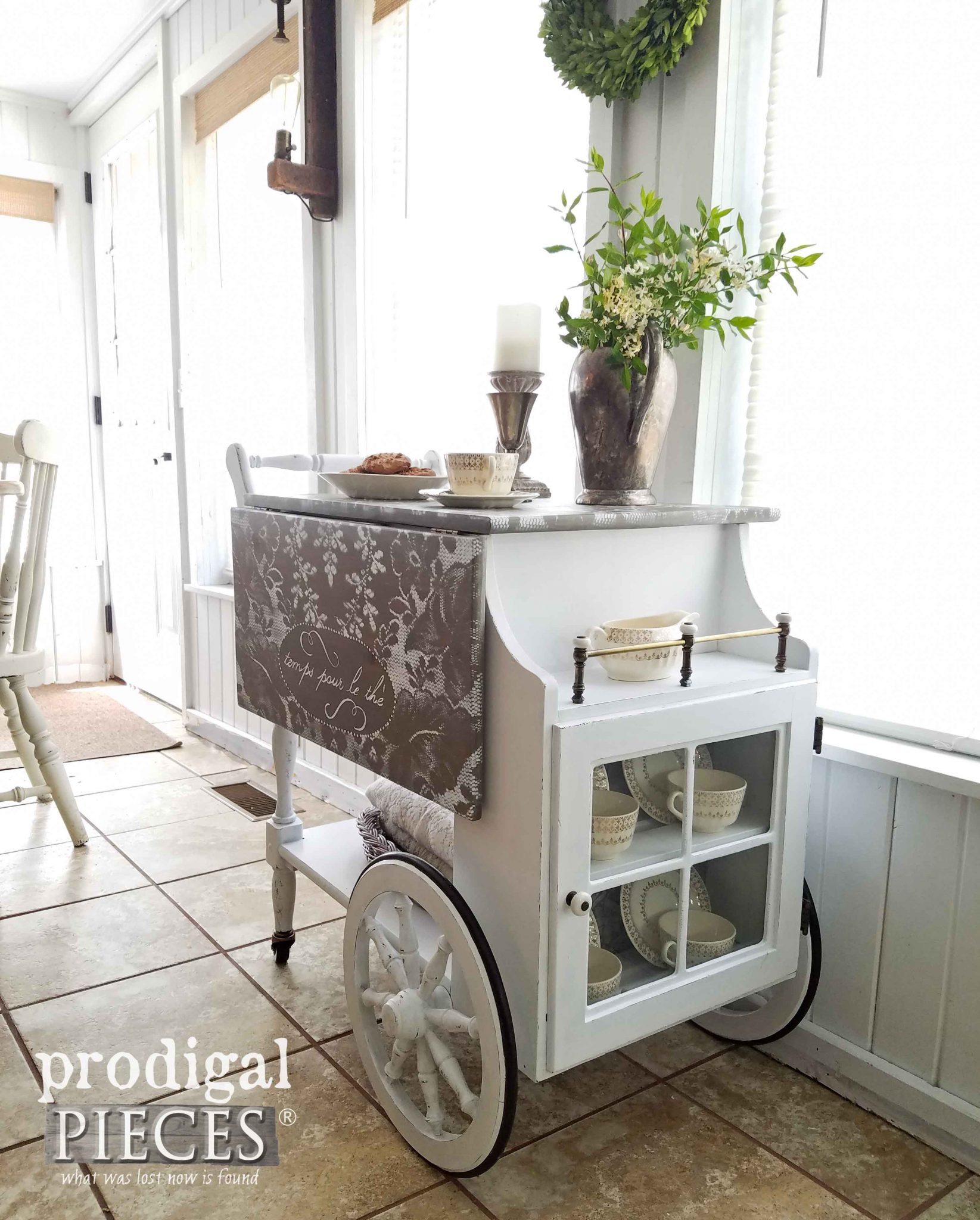 Vintage tea cart gets refreshed with a French Flair by Prodigal Pieces | prodigalpieces.com