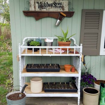 Garden Shed with Upcyled Potting Bench made by Prodigal Pieces | prodigalpieces.com