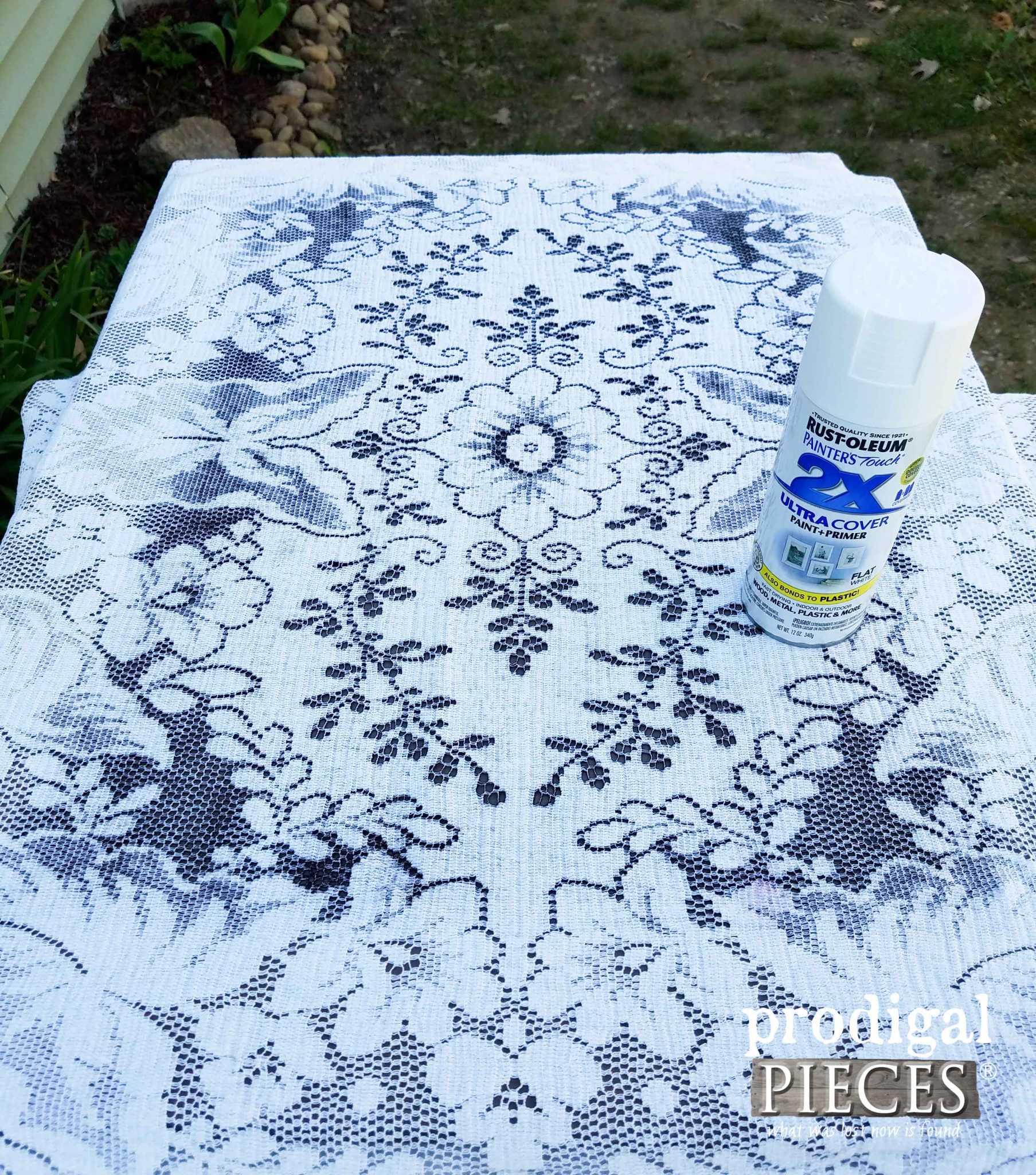 Using Vintage Lace to Paint Tea Cart | Prodigal Pieces | prodigalpieces.com