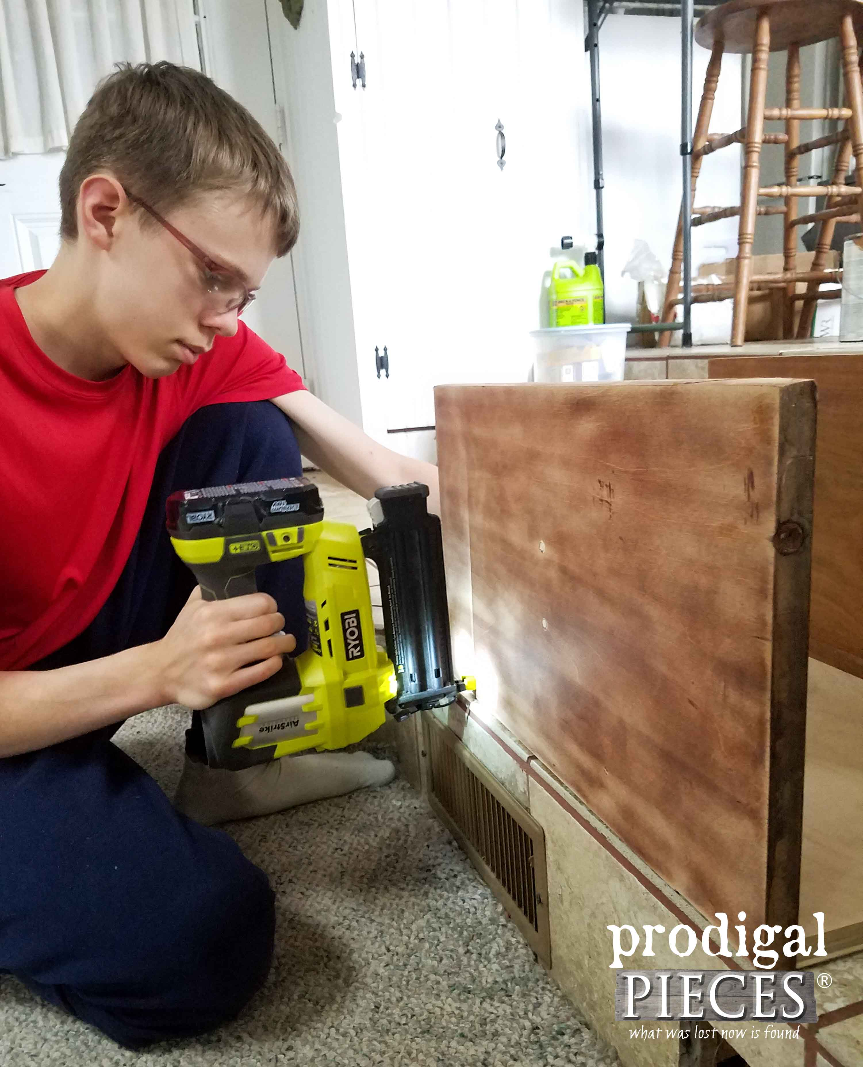 Nailing Repurposed Cabinet Doors Together with Ryobi AirStrike | Prodigal Pieces | prodigalpieces.com