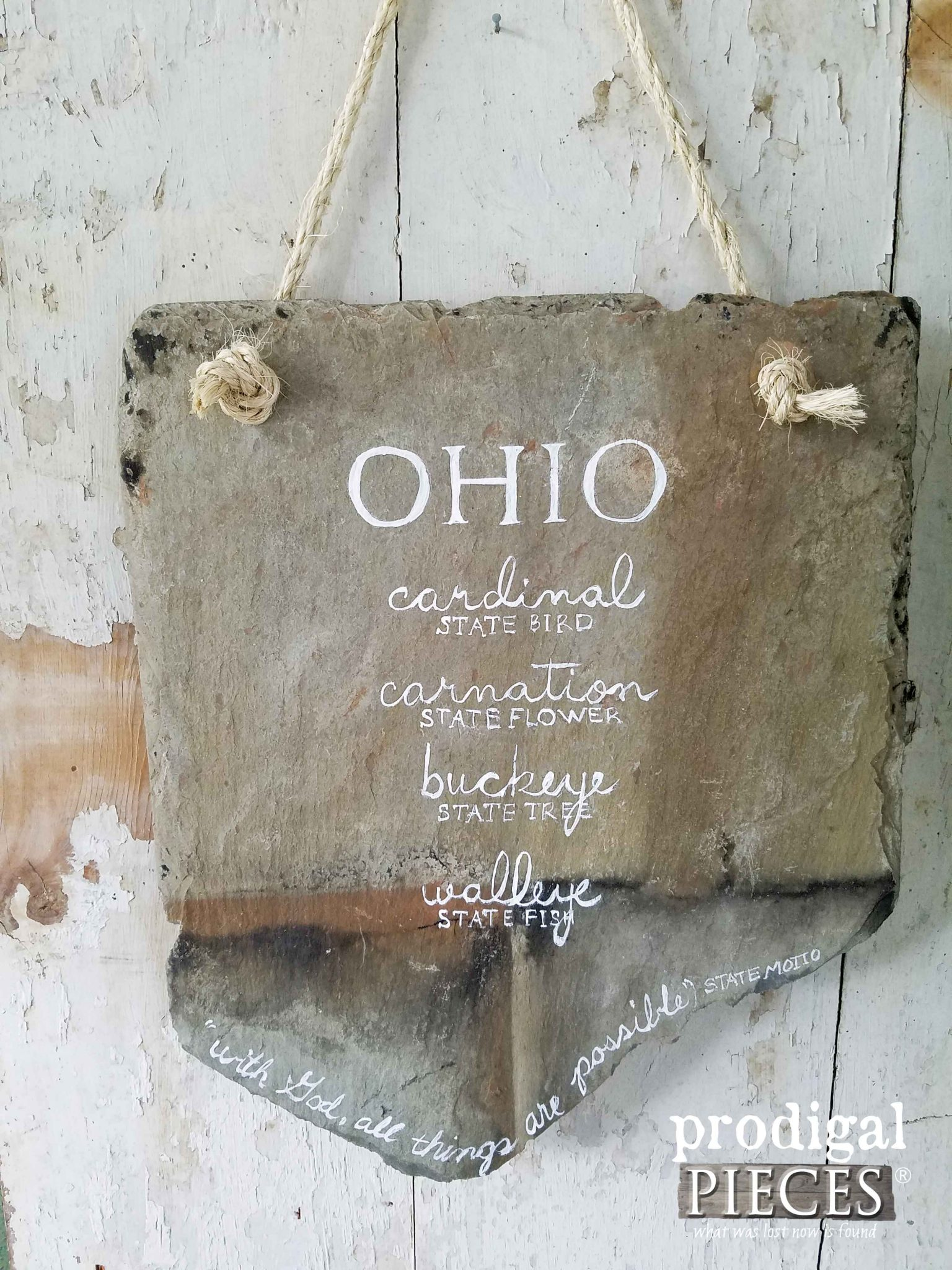 Ohio State Slate Sign - Hand-painted on Reclaimed Ohio Barn Roof Slate. Available at Prodigal Pieces | prodigalpieces.com