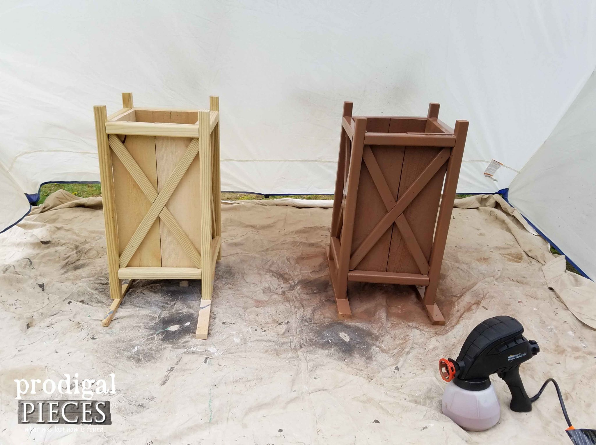 Spraying Pine Planter with HomeRight Stain Sprayer | Prodigal Pieces | prodigalpieces.com