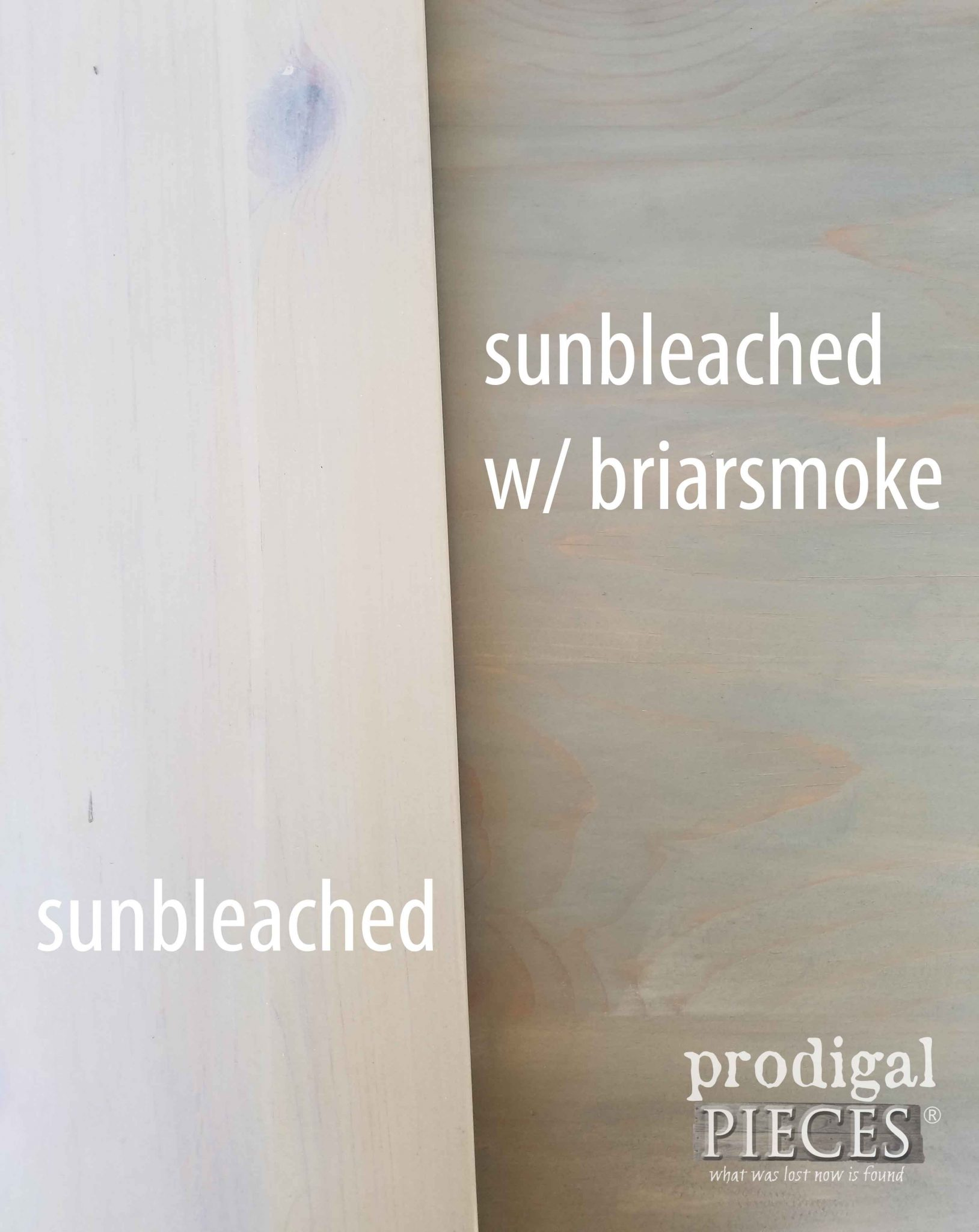 Sunbleached and Briarsmoke Stains Compared for Texture by Prodigal Pieces | prodigalpieces.com