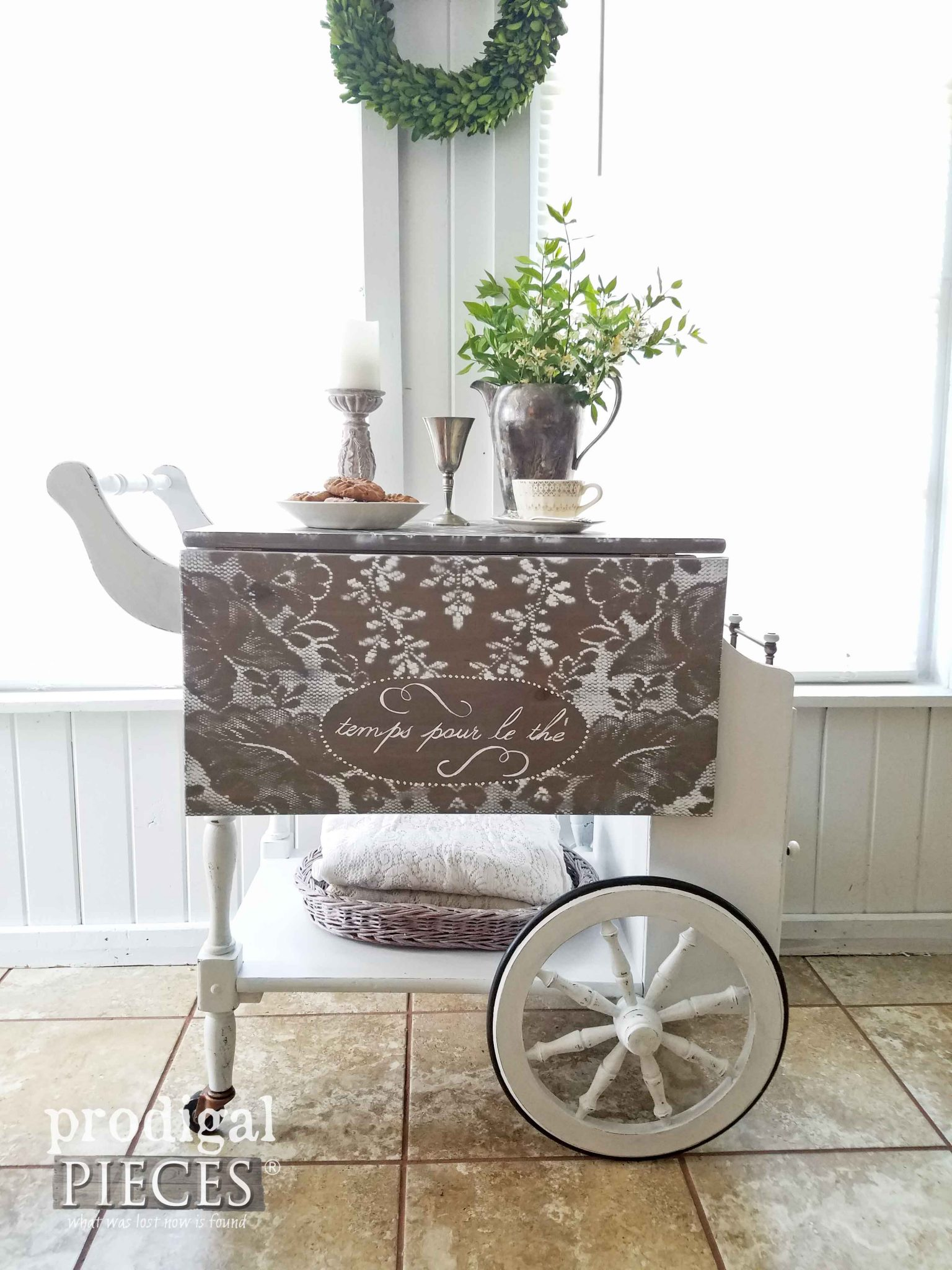 Stenciled French tea cart with tea service storage by Prodigal Pieces | prodigalpieces.com