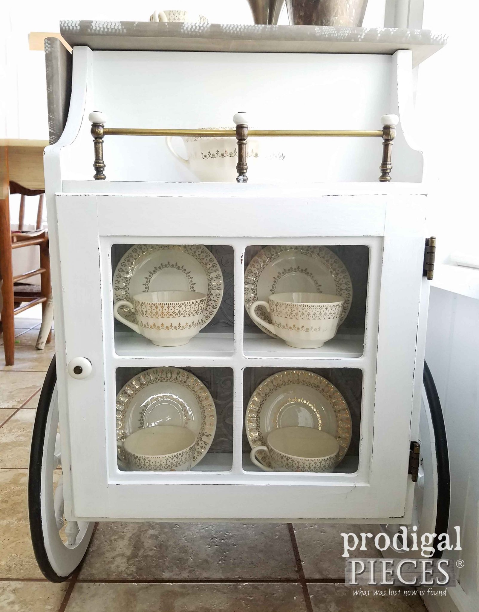 Tea Cart Storage with Tea Service by Prodigal Pieces | prodigalpieces.com