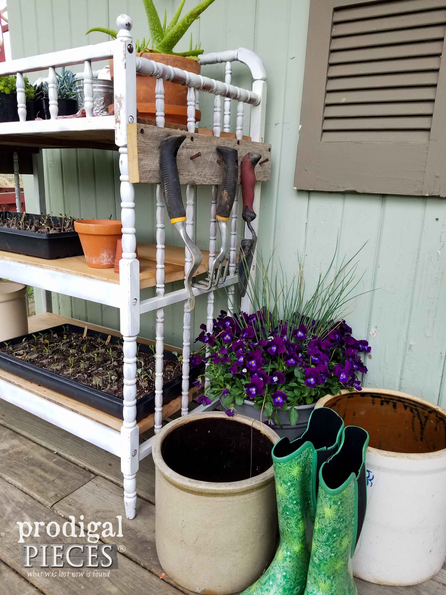 Tool Rack on Repurposed Potting Bench by Prodigal Pieces | prodigalpieces.com