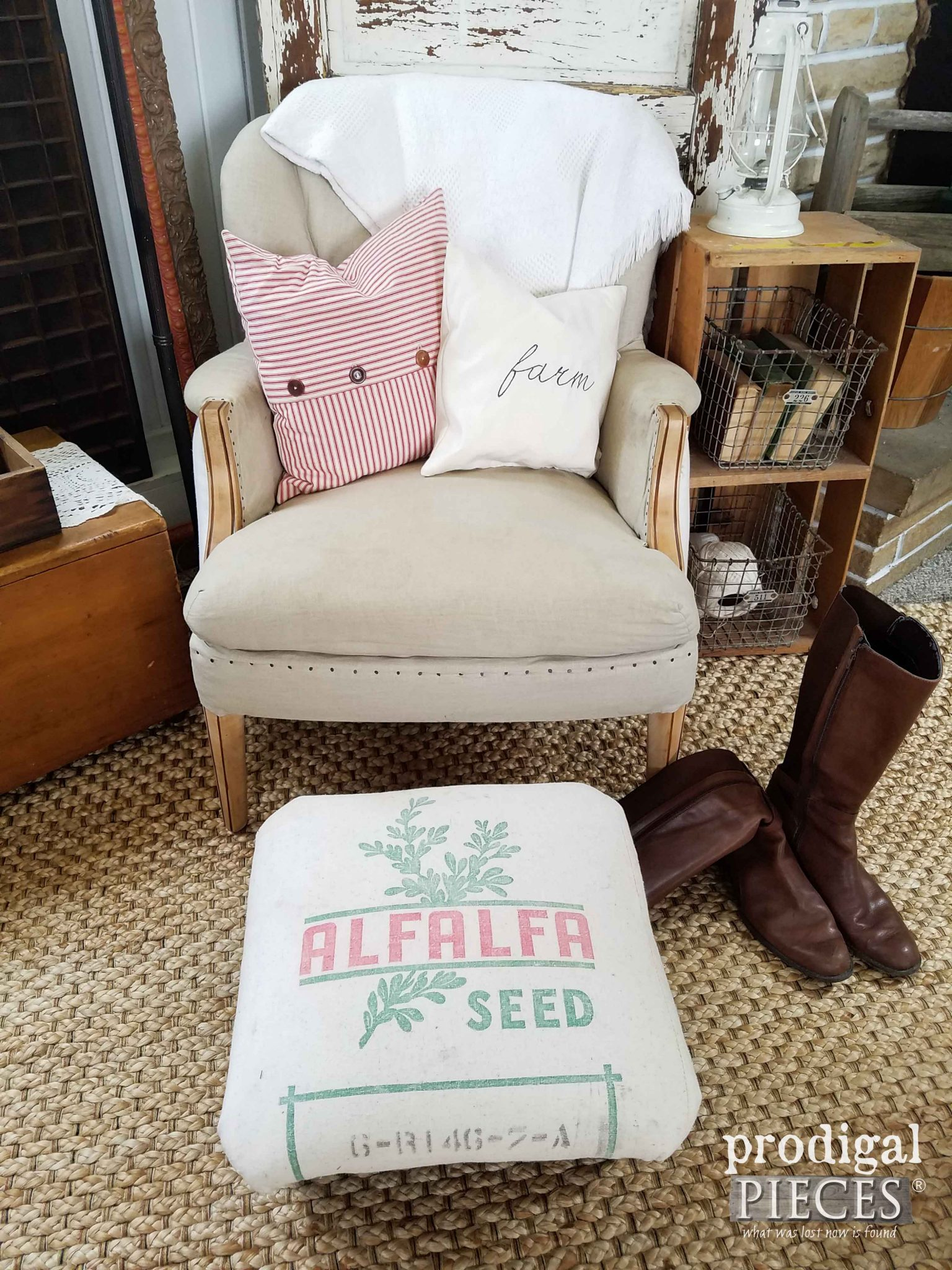 Feed Sack Footstool Makeover by Prodigal Pieces | prodigalpieces.com