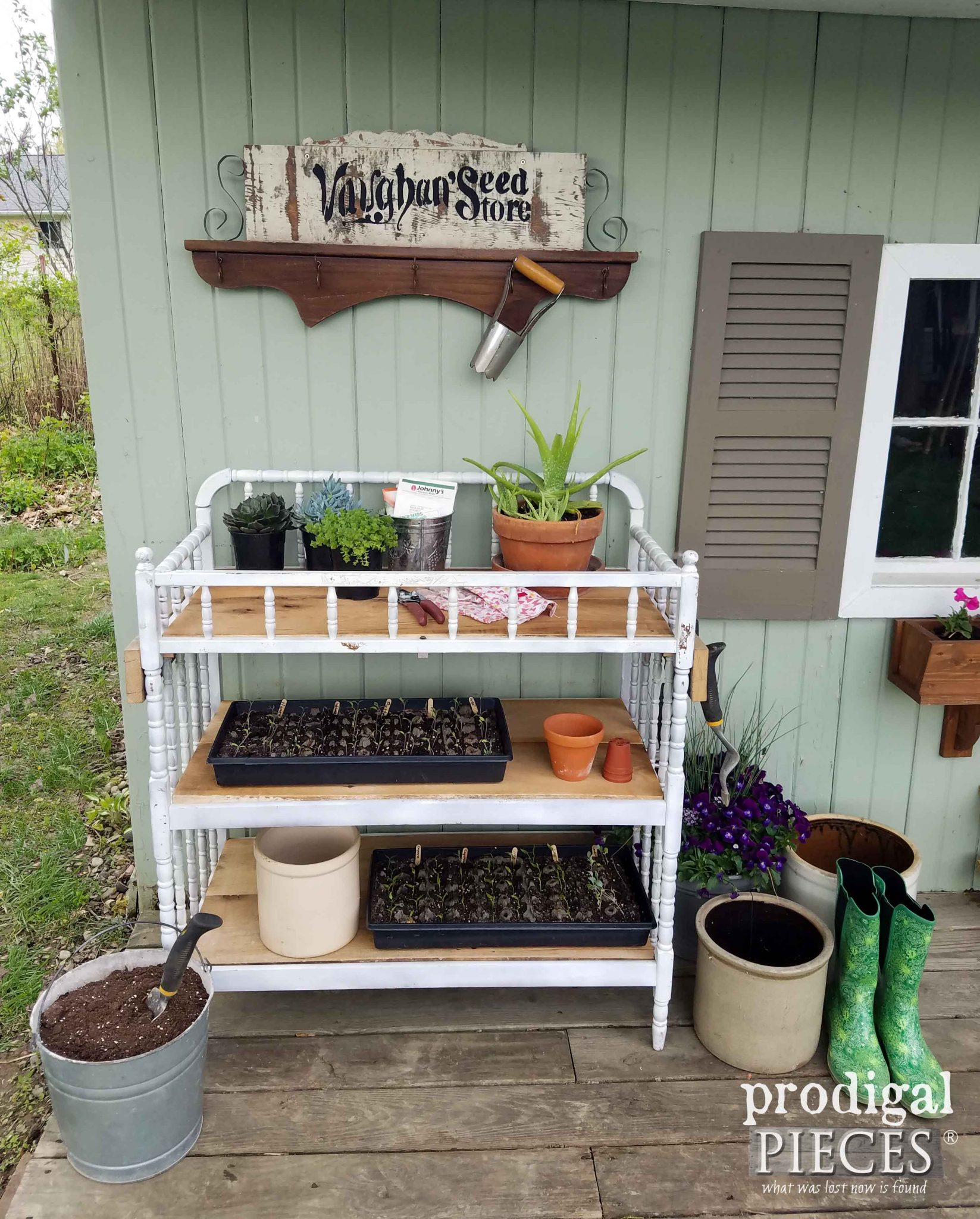 Picture of: Repurposed Changing Table Potting Bench Prodigal Pieces