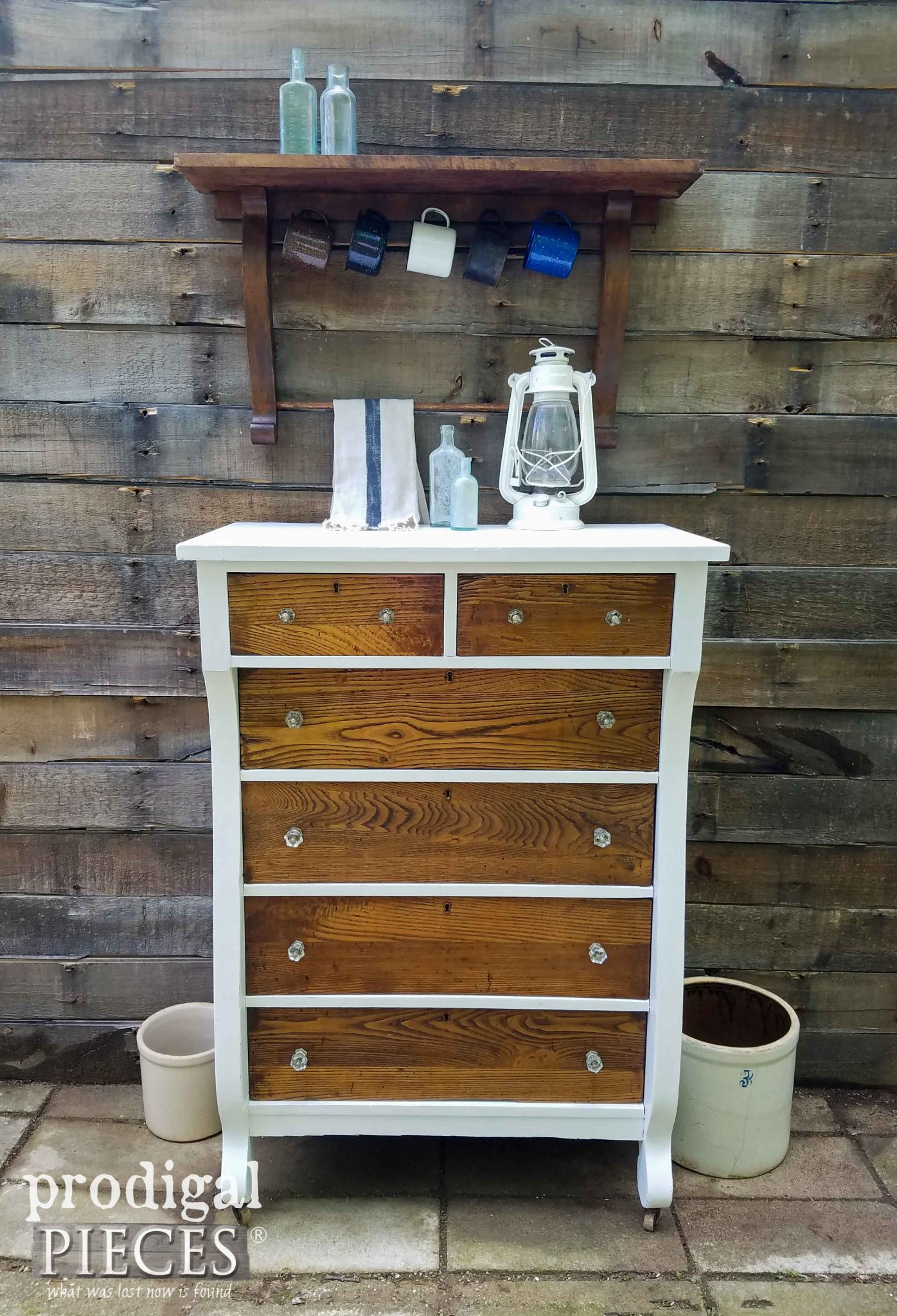 Antique Empire Chest Is Given New Life With Repurposed Mirror Harp Shelf By Prodigal Pieces
