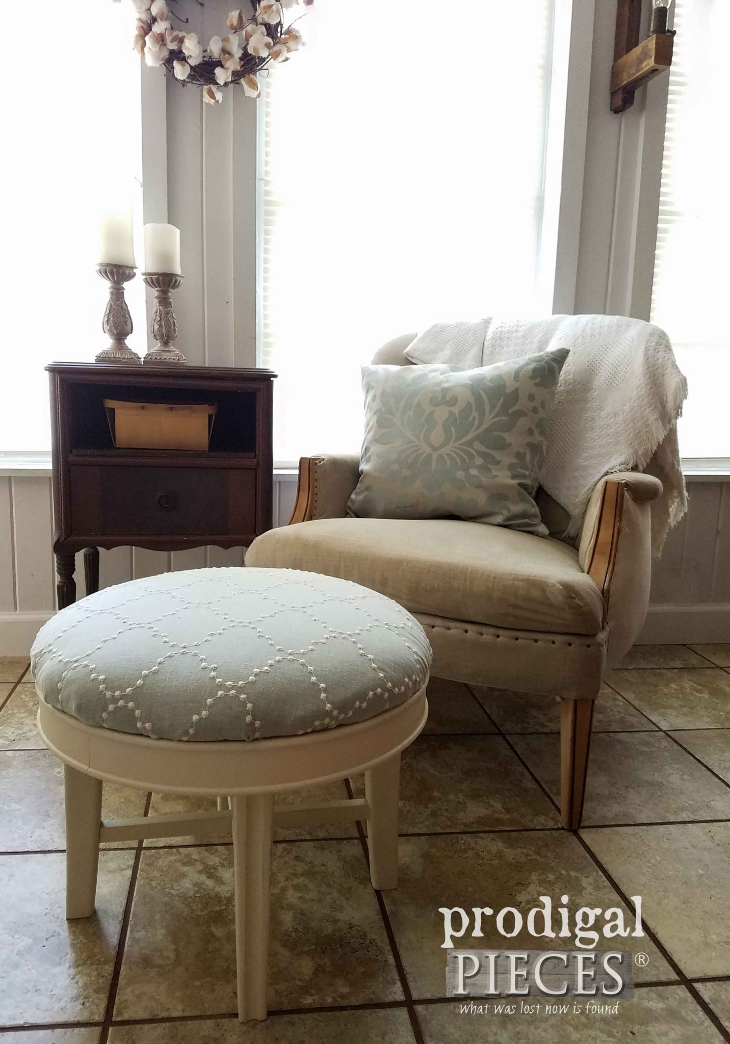 Vintage Ottoman and Chair refreshed with upholstery and paint. DIY at prodigalpieces.com