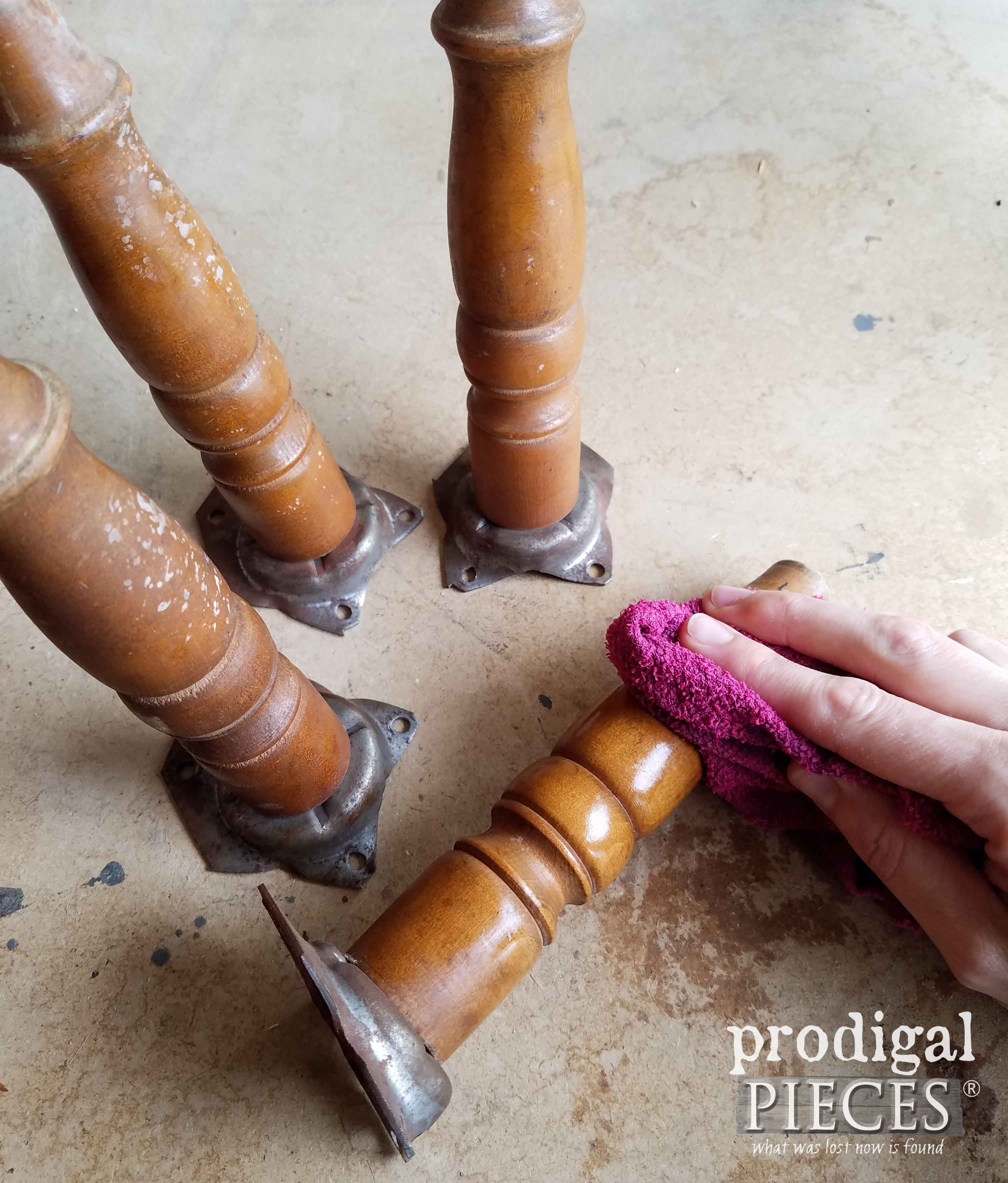 Cleaning Footstool Legs for Painting | prodigalpieces.com