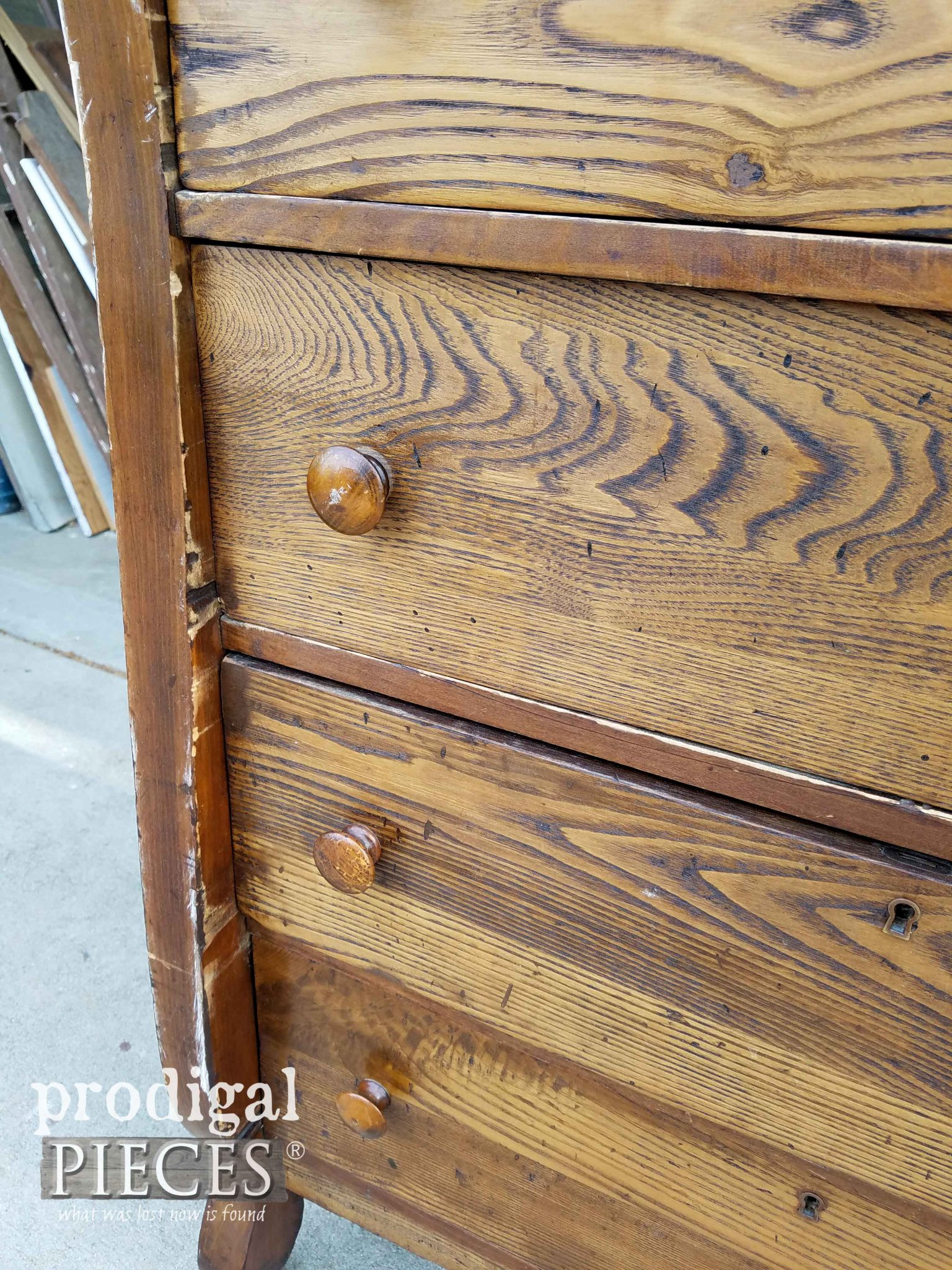 Close-Up of Antique Empire Chest Damage | prodigalpieces.com