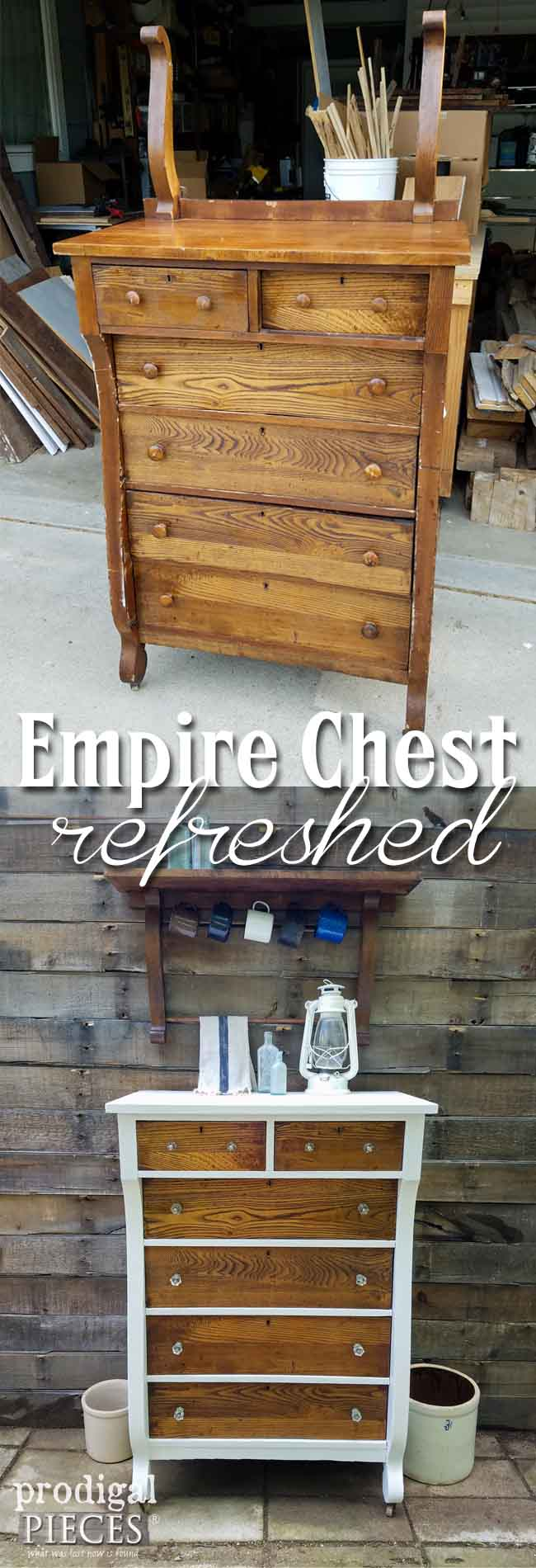 Antique Empire Chest gets new life and a mirror harp becomes something new. Come see how Larissa at Prodigal Pieces shows you how. | prodigalpieces.com