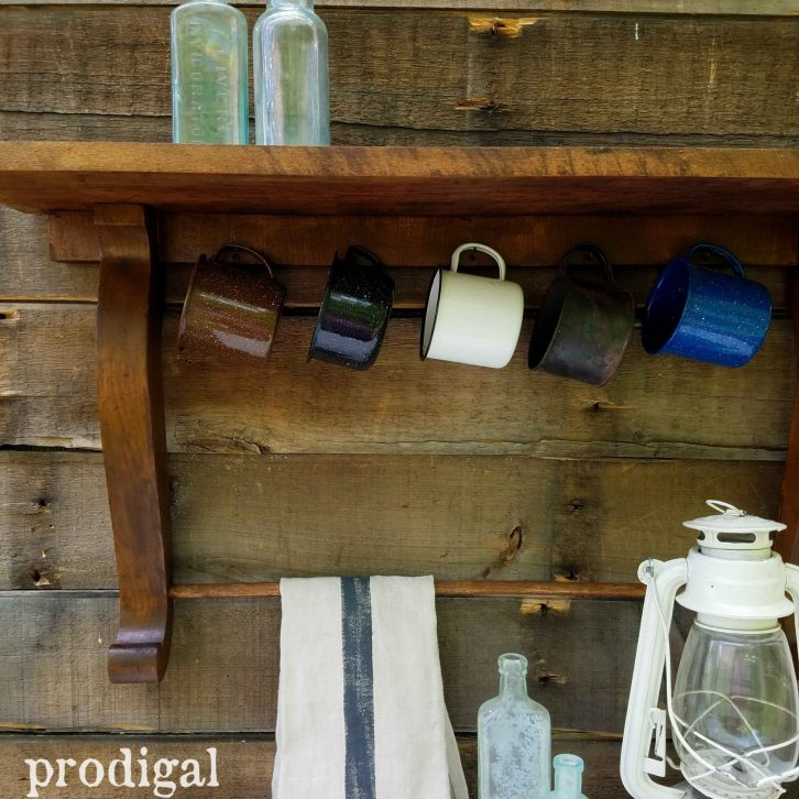 Farmhouse Vignette with Enamelware Cups on Reclaimed Shelf by Prodigal Pieces   prodigalpieces.com