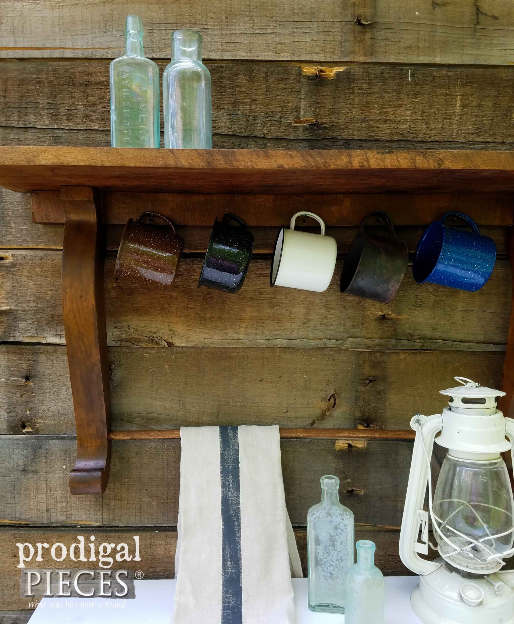 Farmhouse Vignette with Enamelware Cups on Reclaimed Shelf by Prodigal Pieces | prodigalpieces.com