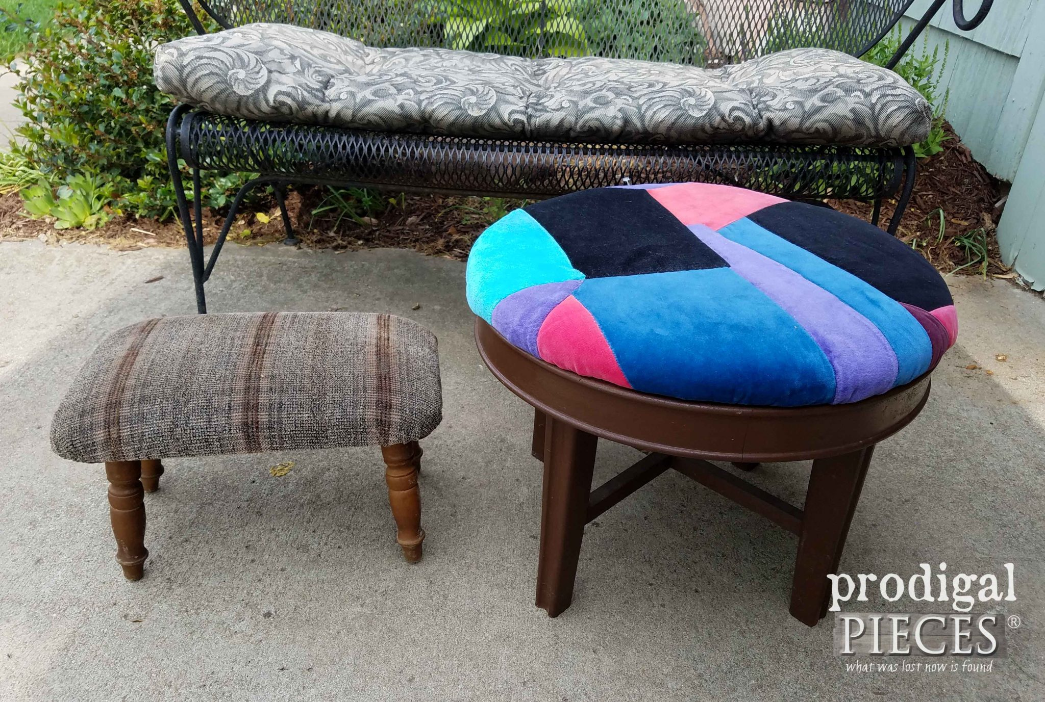 Thrifted Footstools Before Makeover by Prodigal Pieces | prodigalpieces.com