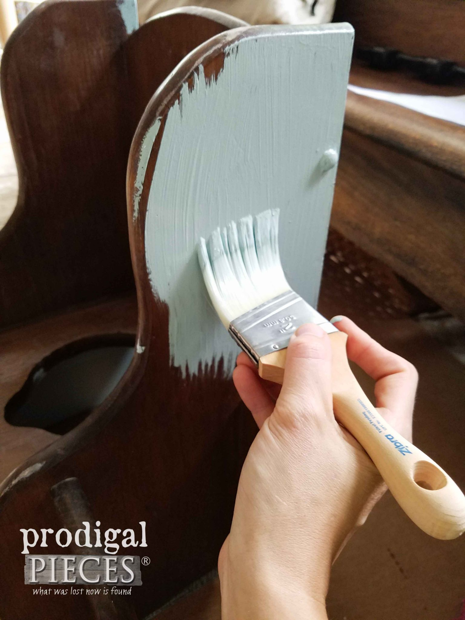 Painting Wooden Potty for Potty Chair Makeover by Prodigal Pieces | prodigalpieces.com