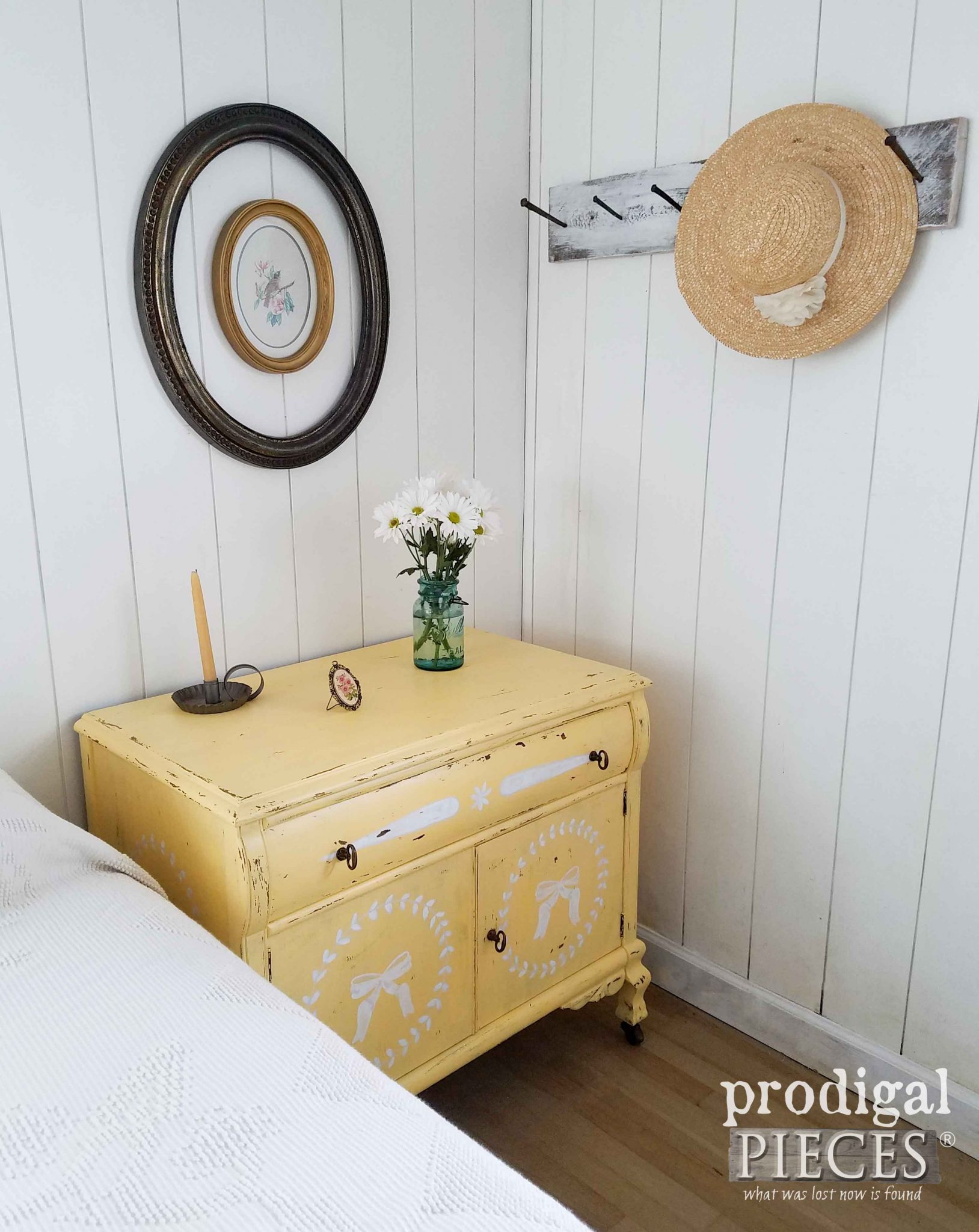 Praire Style Bedroom with Vintage Chest by Larissa of Prodigal Pieces | prodigalpieces.com